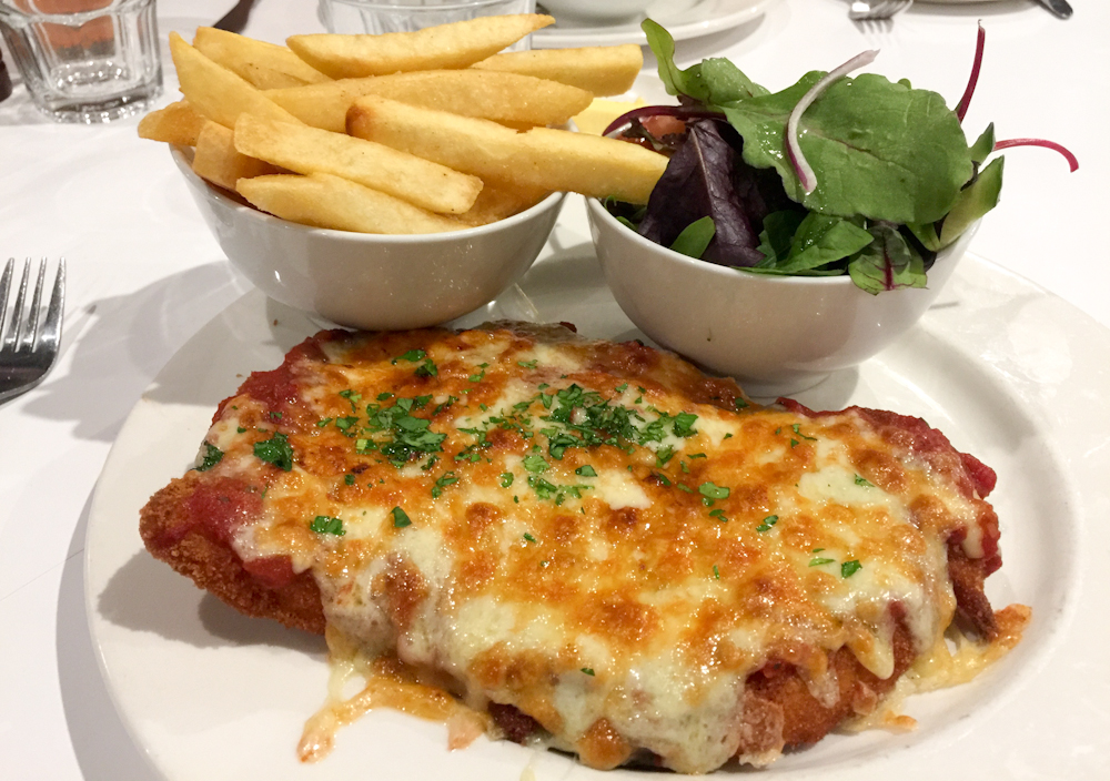 The Emerald parma with Chips & Salad