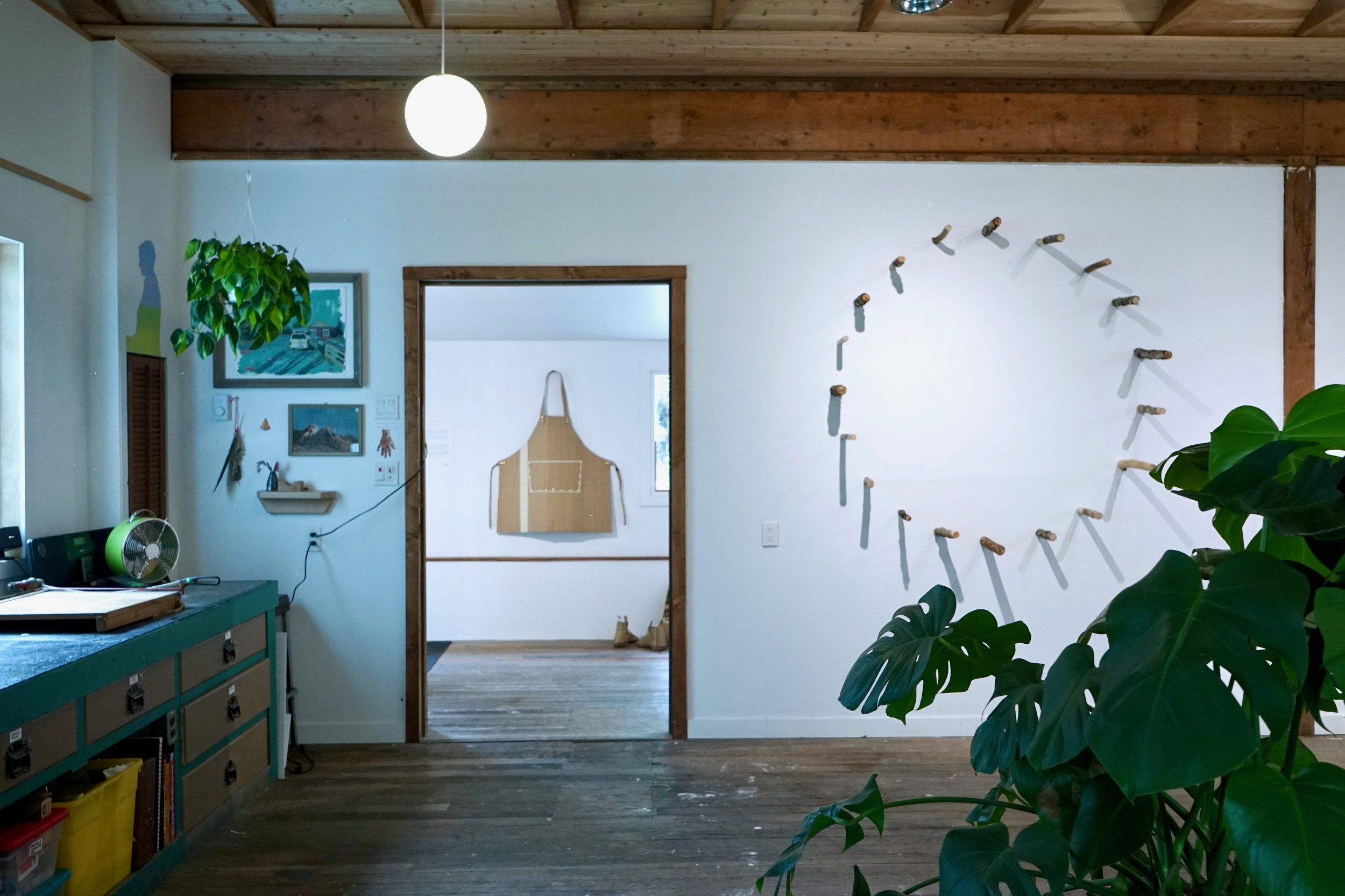 Studio View into the Gallery with work by Isobel Rayson