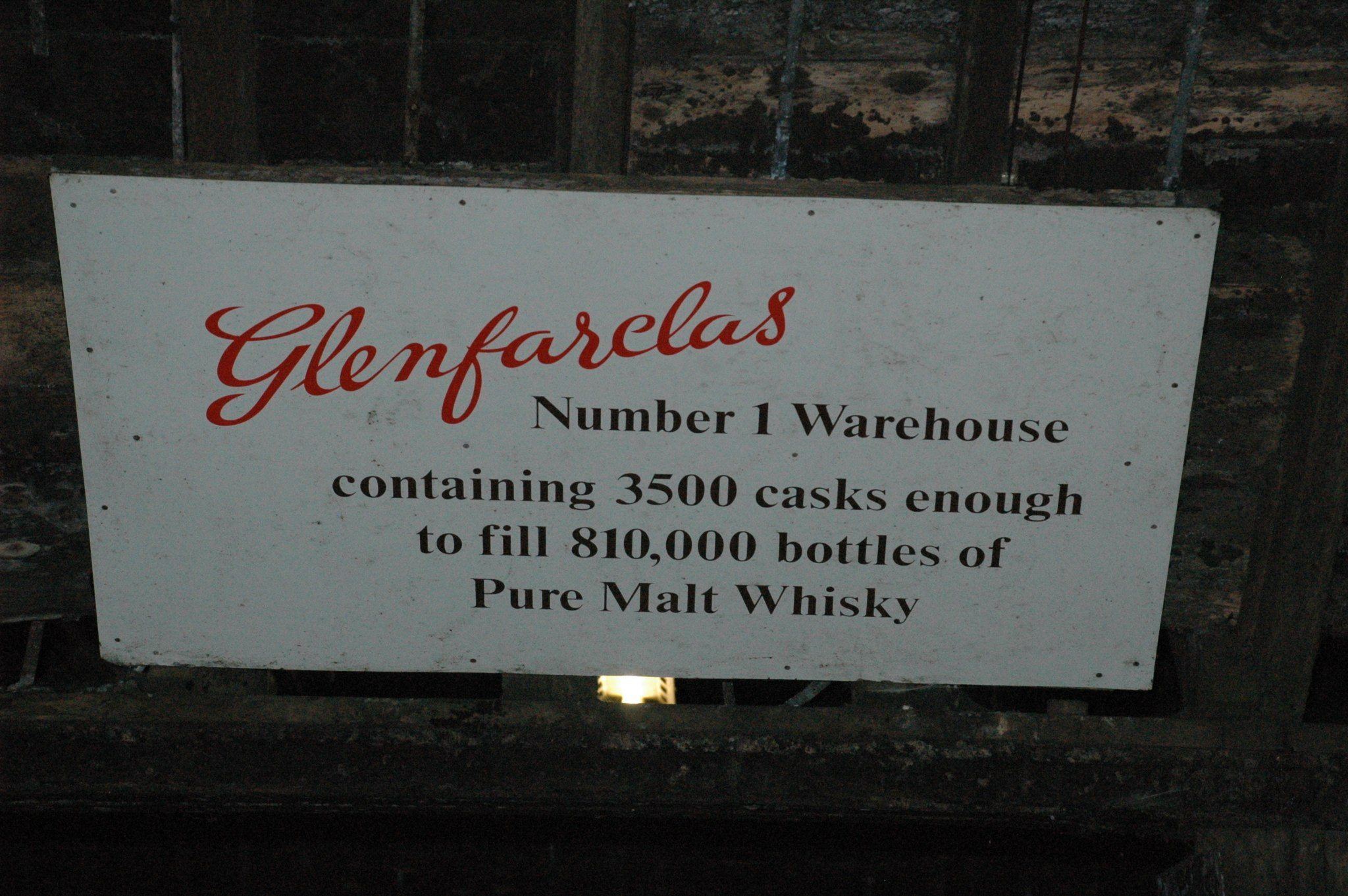 Warehouse sign at the Glenfarclas Distillery