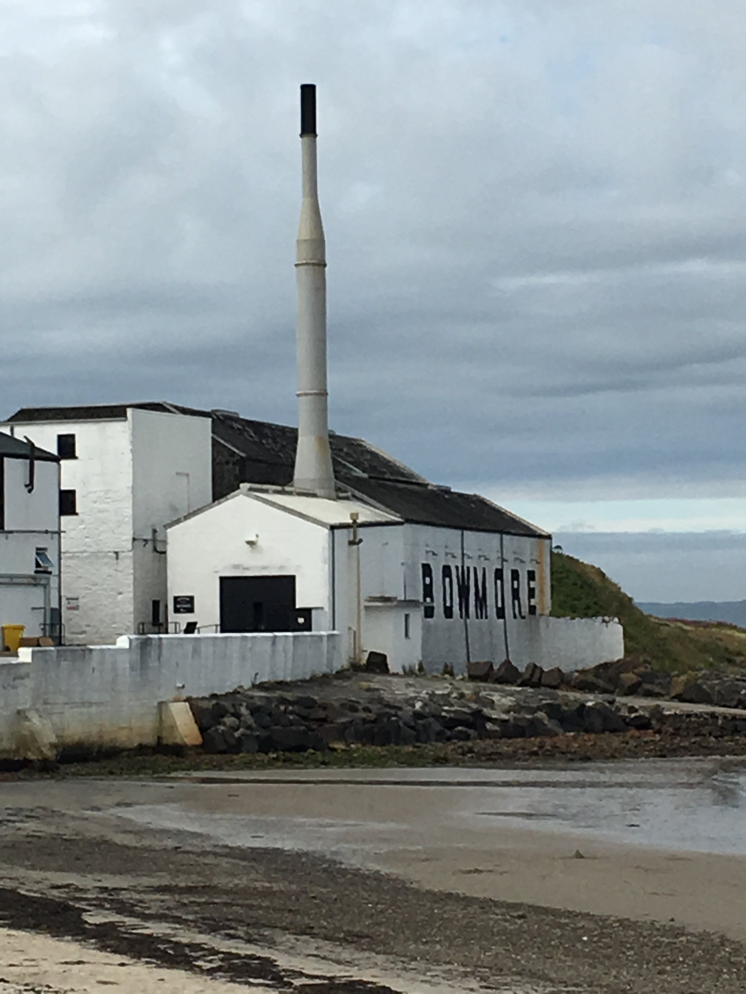 View of Bowmore Distillery from the beach on Islay