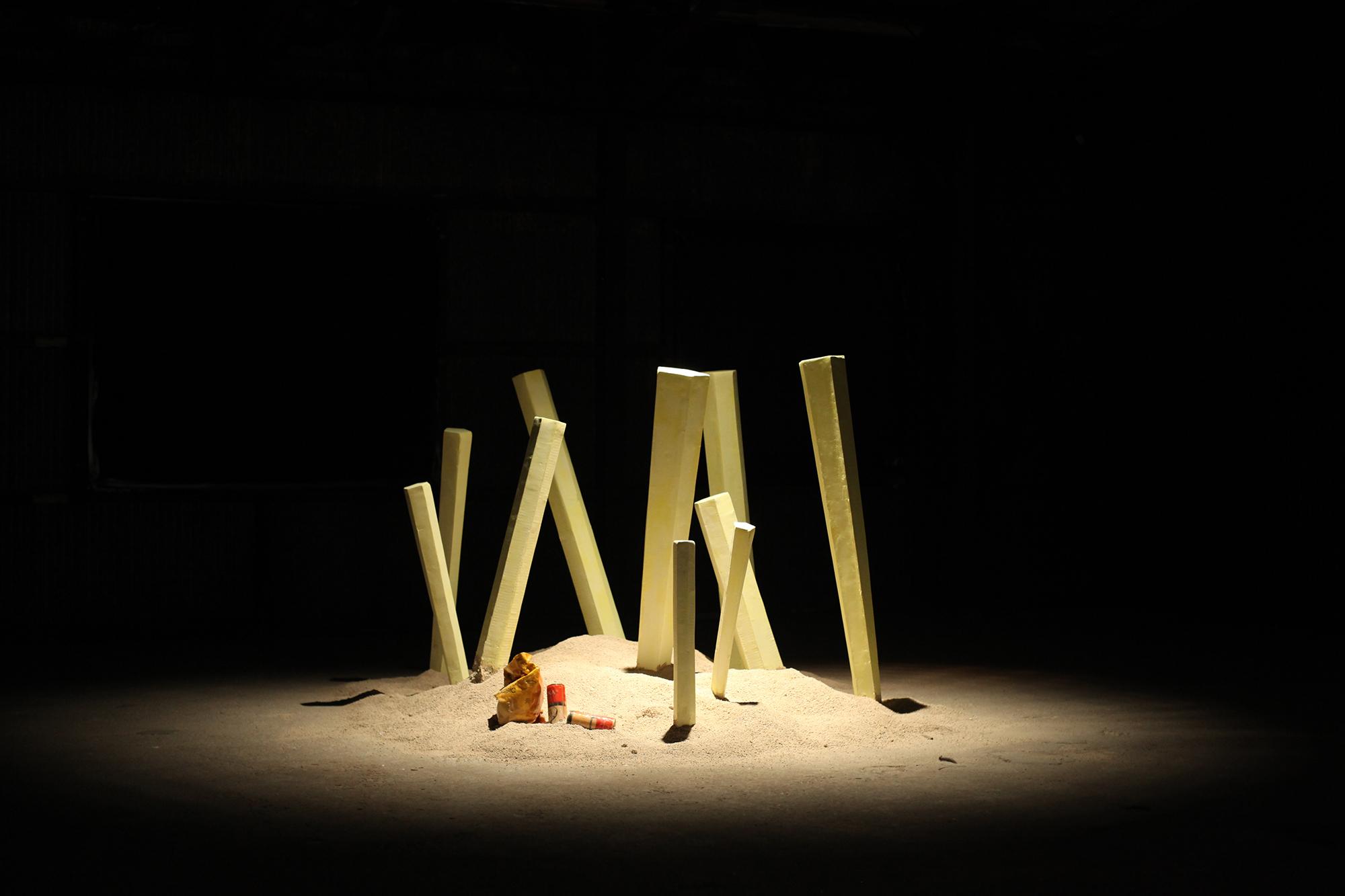 my village is your village, and is mine 2017  300cm x 142cm x300cm  carton box,sand,wire