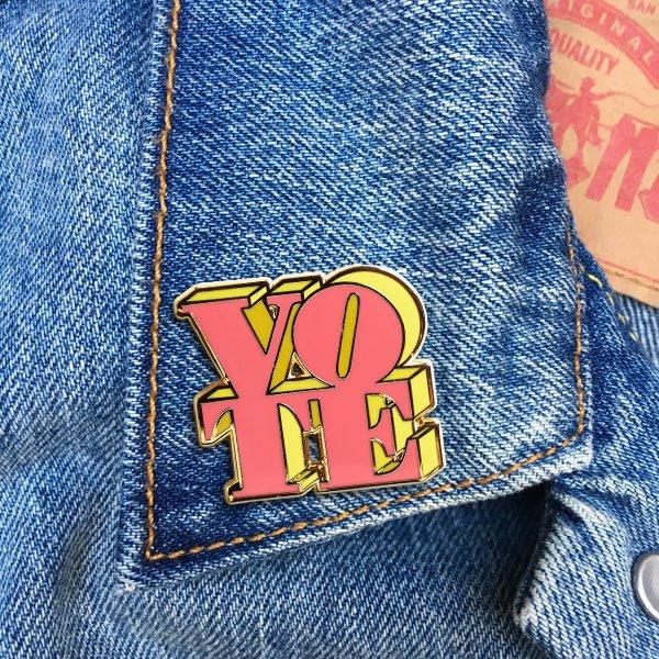 VOTE Pink & Yellow Pin