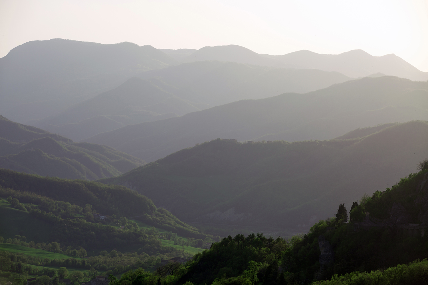 """View of Valmarecchia from the slopes of Mount San Marco, in Villagrande (RN), where one of Valmarecchia official view-points of the """"Mona Lisa"""" landscapes was located."""