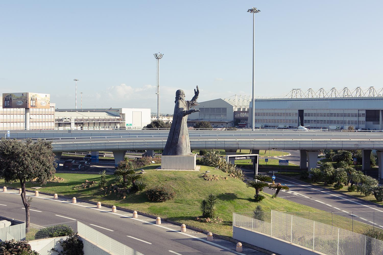 Leonardo da Vinci statue, Fiumicino Airport, Rome.
