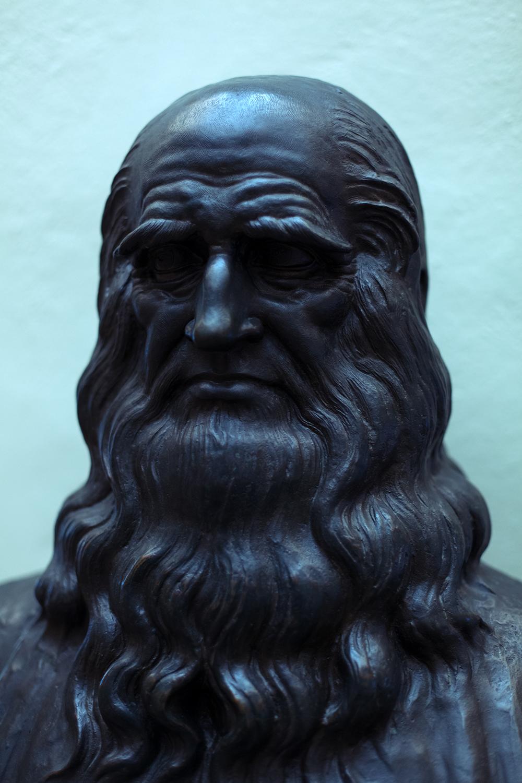 Busto bronzeo di Leonardo Da Vinci nel Museo leonardiano di Vinci (FI).