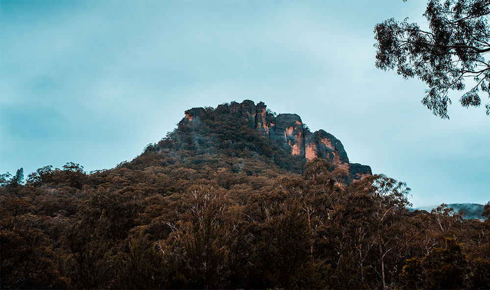 Looking up at Mystery Mountain from Newnes Hotel