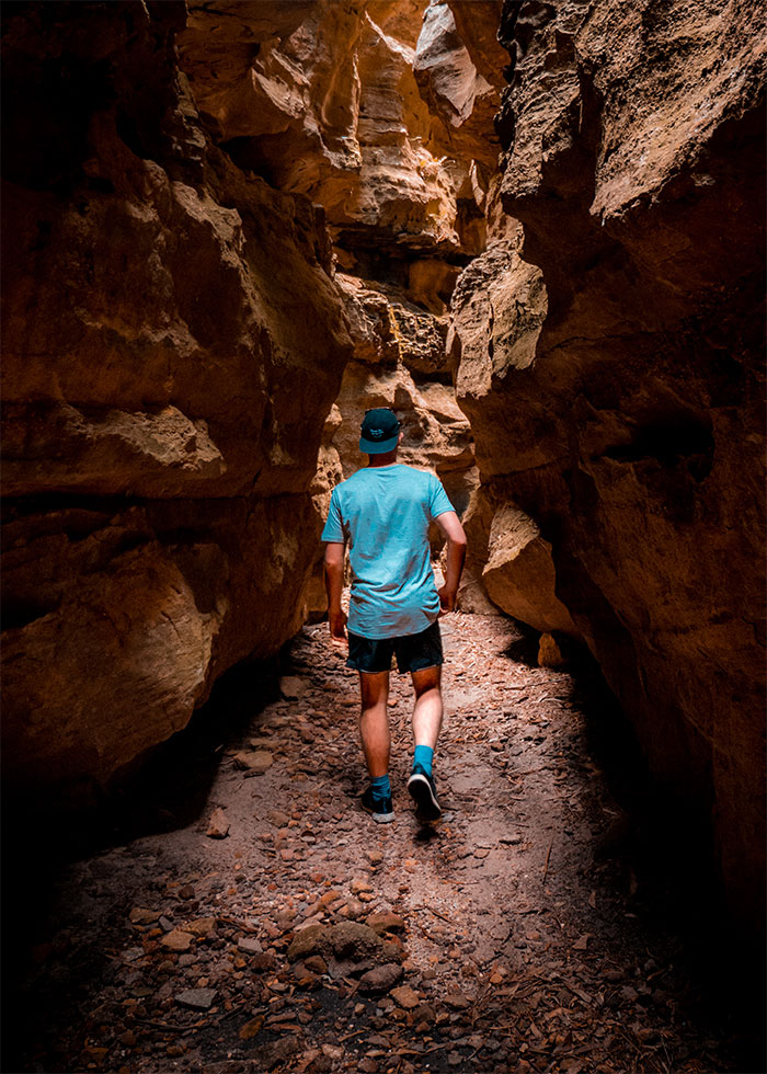 Stephen walking through Dry Canyon in Newnes. An easy canyon to explore.