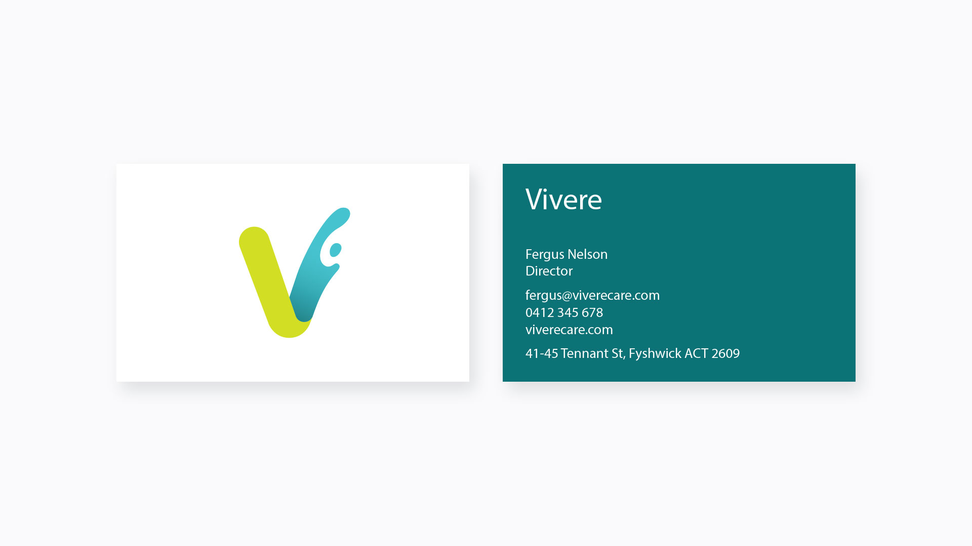 Vivere Business card design in Manly, Sydney