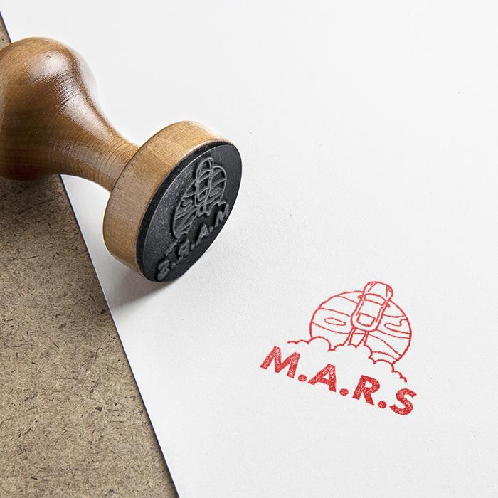 M.A.R.S Rubber stamp design.