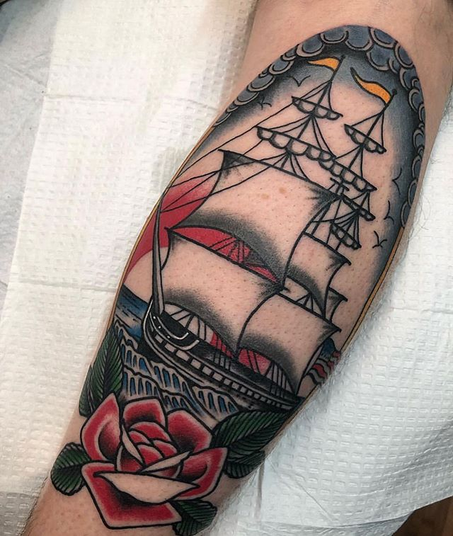 Rad Traditional clipper ship by @rachaelsnydertattoos