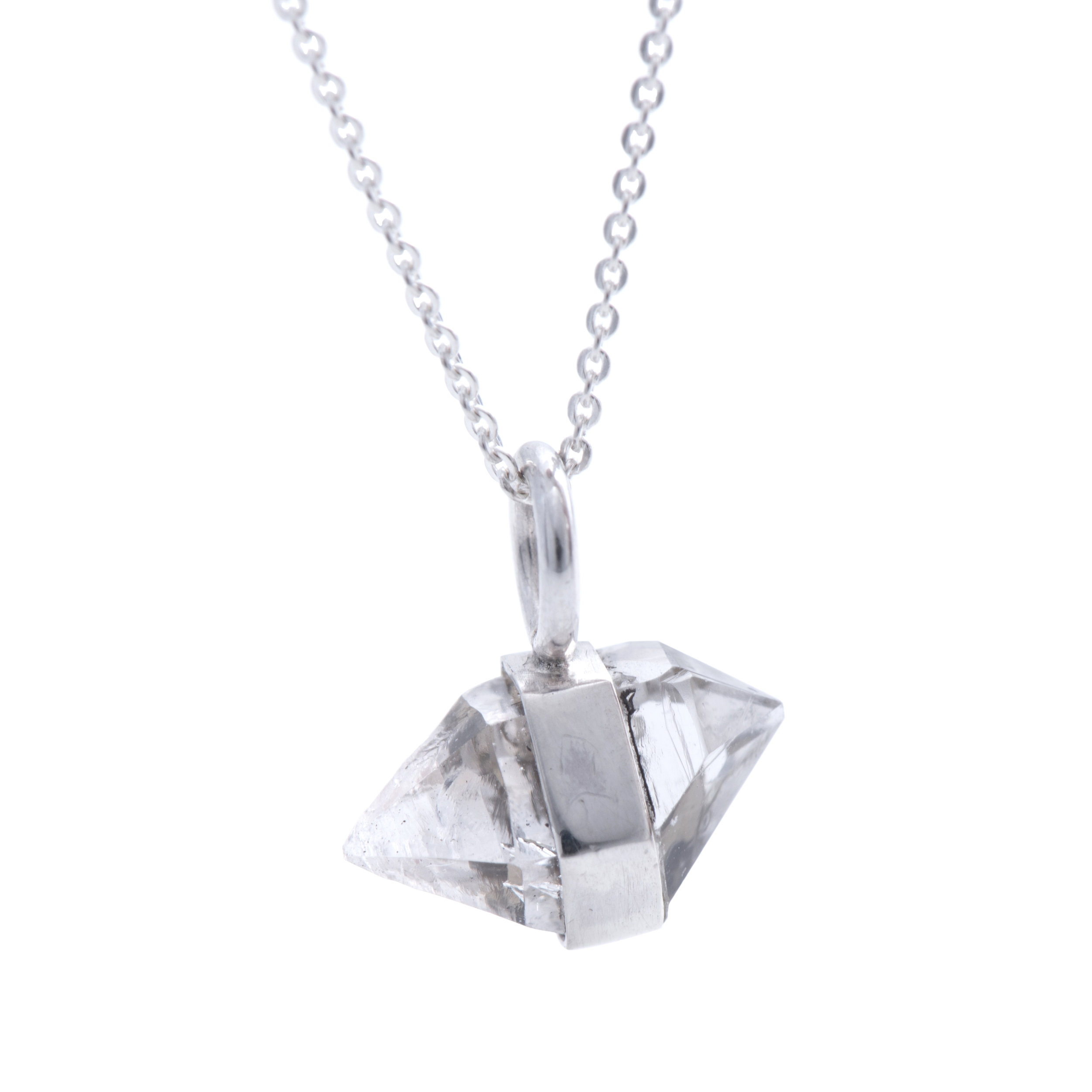 EYESEEi. AAVRE necklace. Sterling silver and one raw Herkimer diamond crystal. The word means success and happiness in the Southern Sami dialect. Price: 580 SEK Photo: Naomi Pongolini