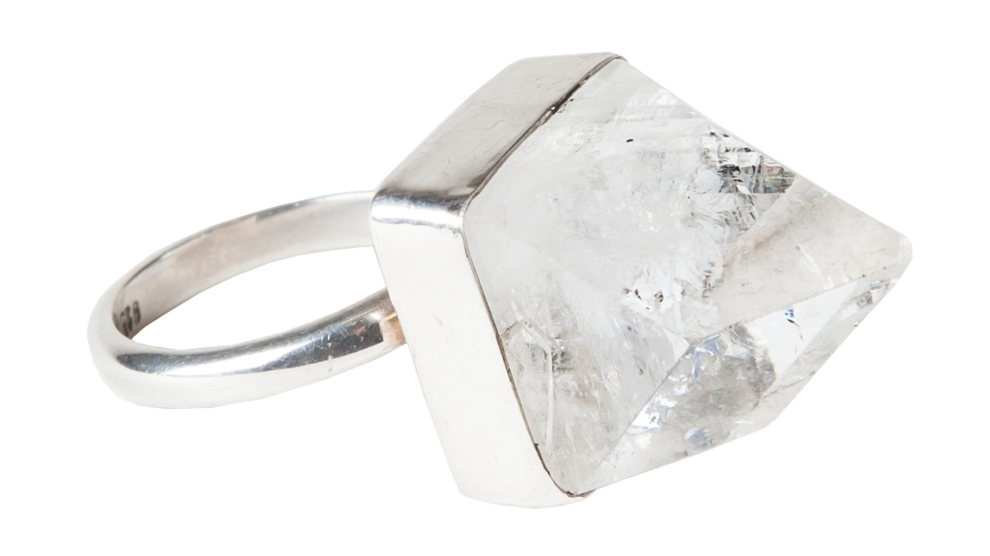 EYESEEi. Mini ILLUMINATION ring handmade in Sterling silver and raw Apopfylite crystal. Free size. Price: 680 SEK Photo: Olle Enqvist.