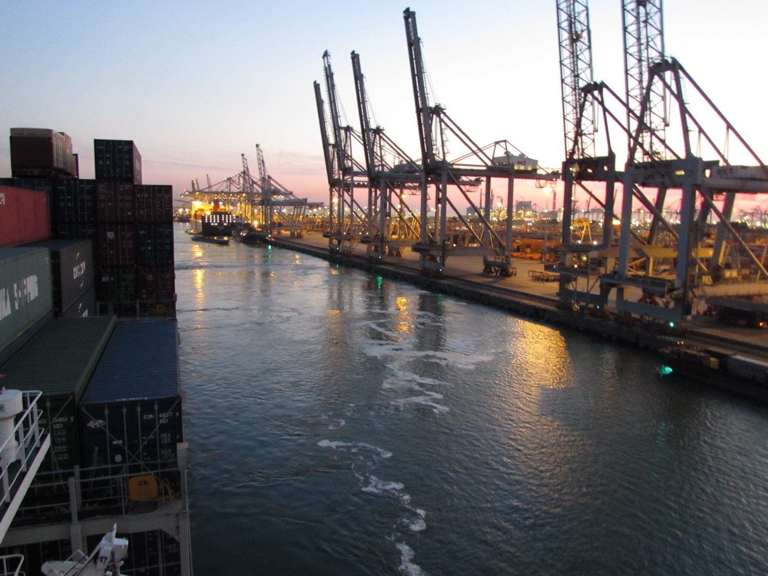 Leaving the port of Rotterdam
