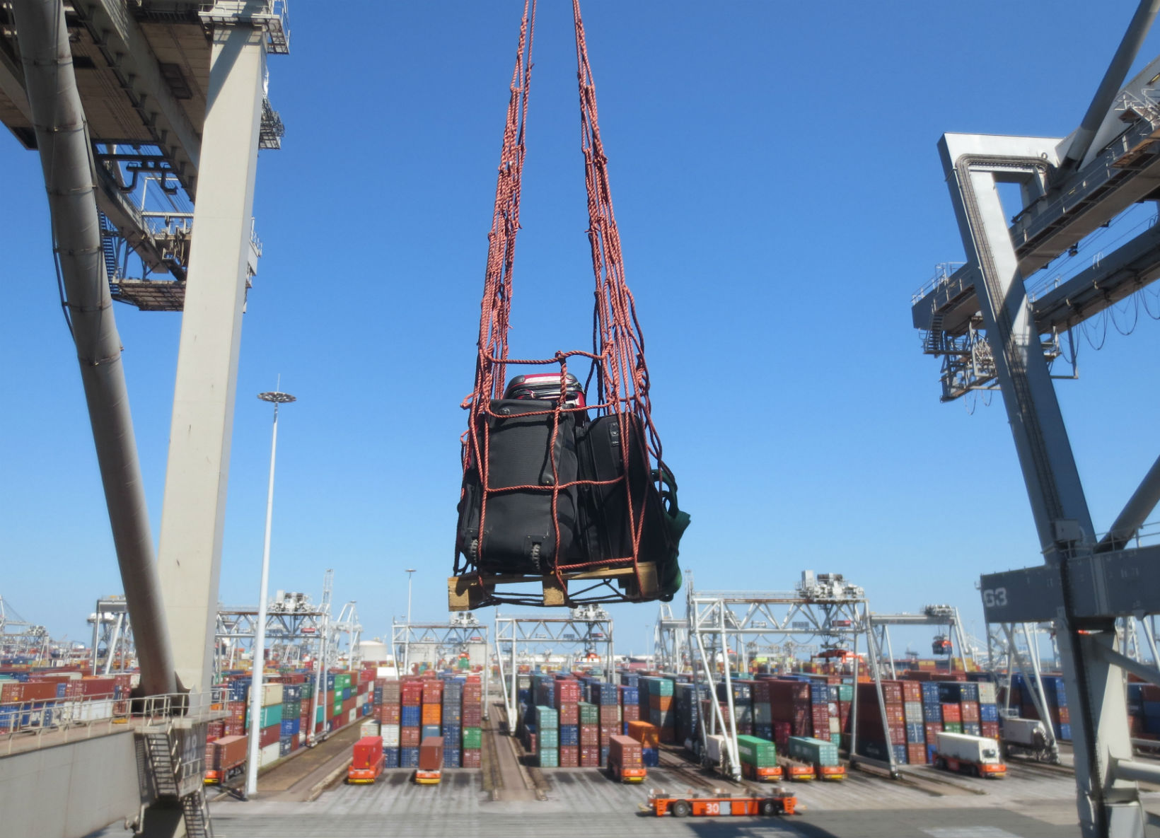Hoisting our luggage on board in Rotterdam