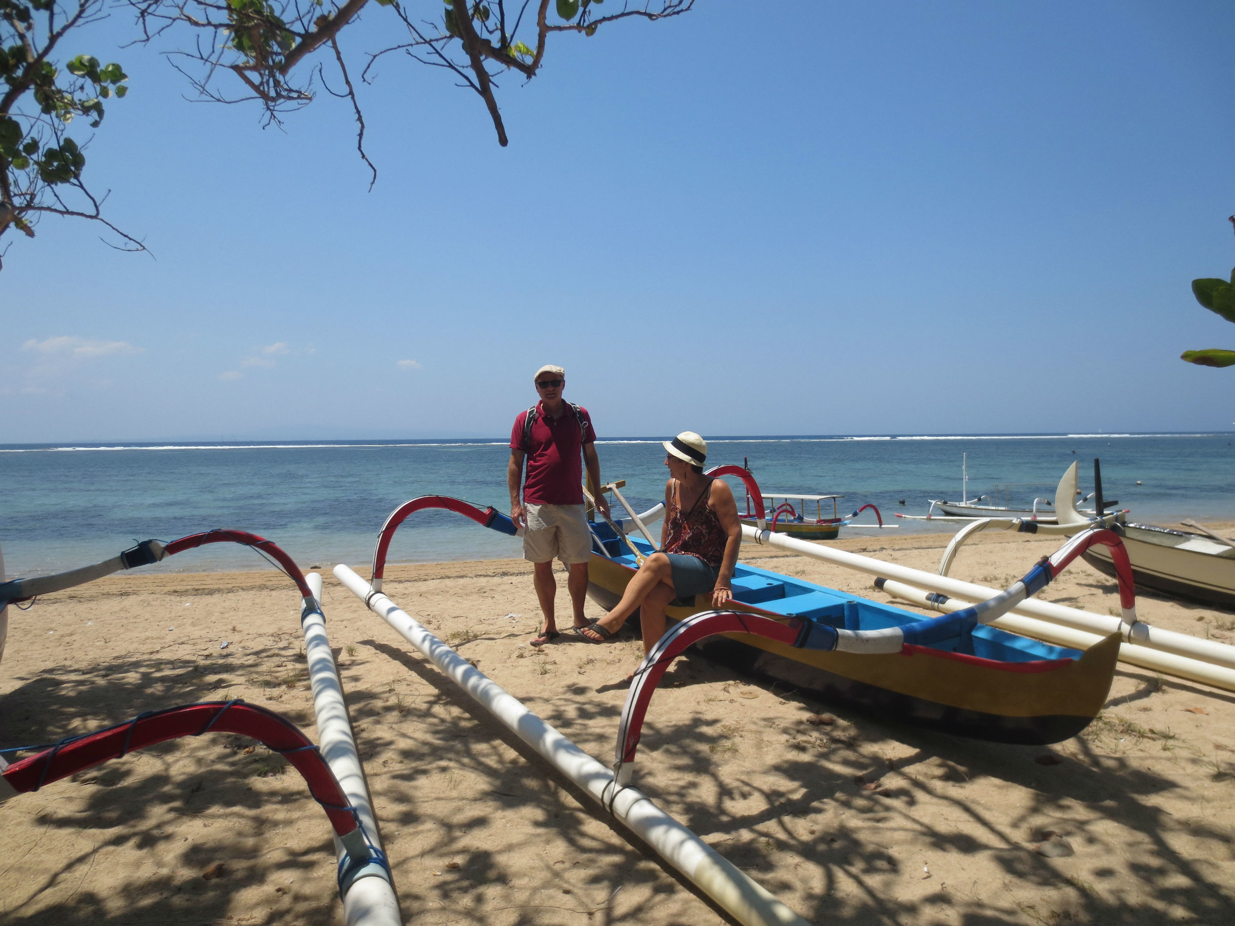 Jukungs on the beach in Sanur