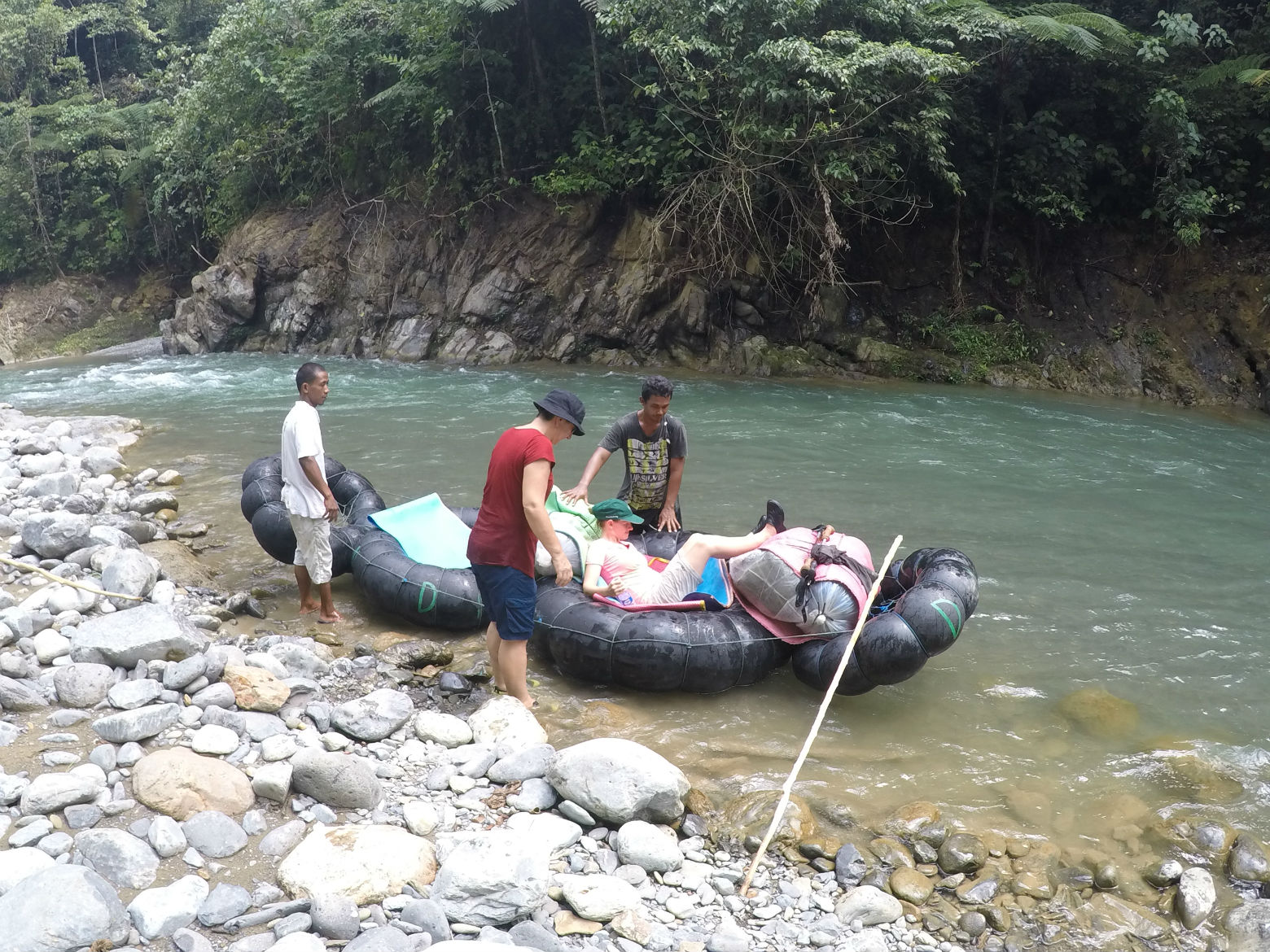Rafting back to the village