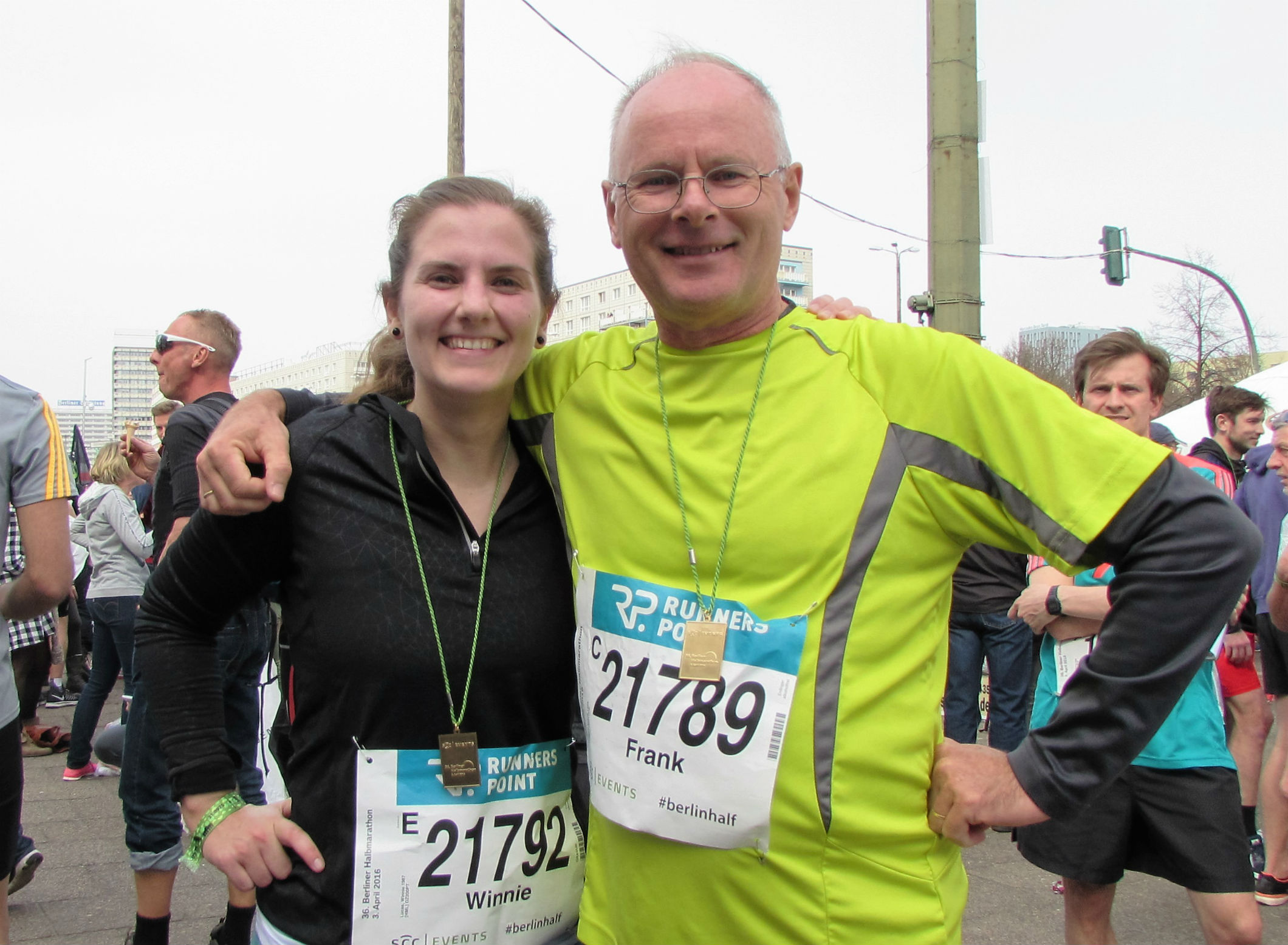 Winnie and Frank finished the Berlin half-marathon in April 2016