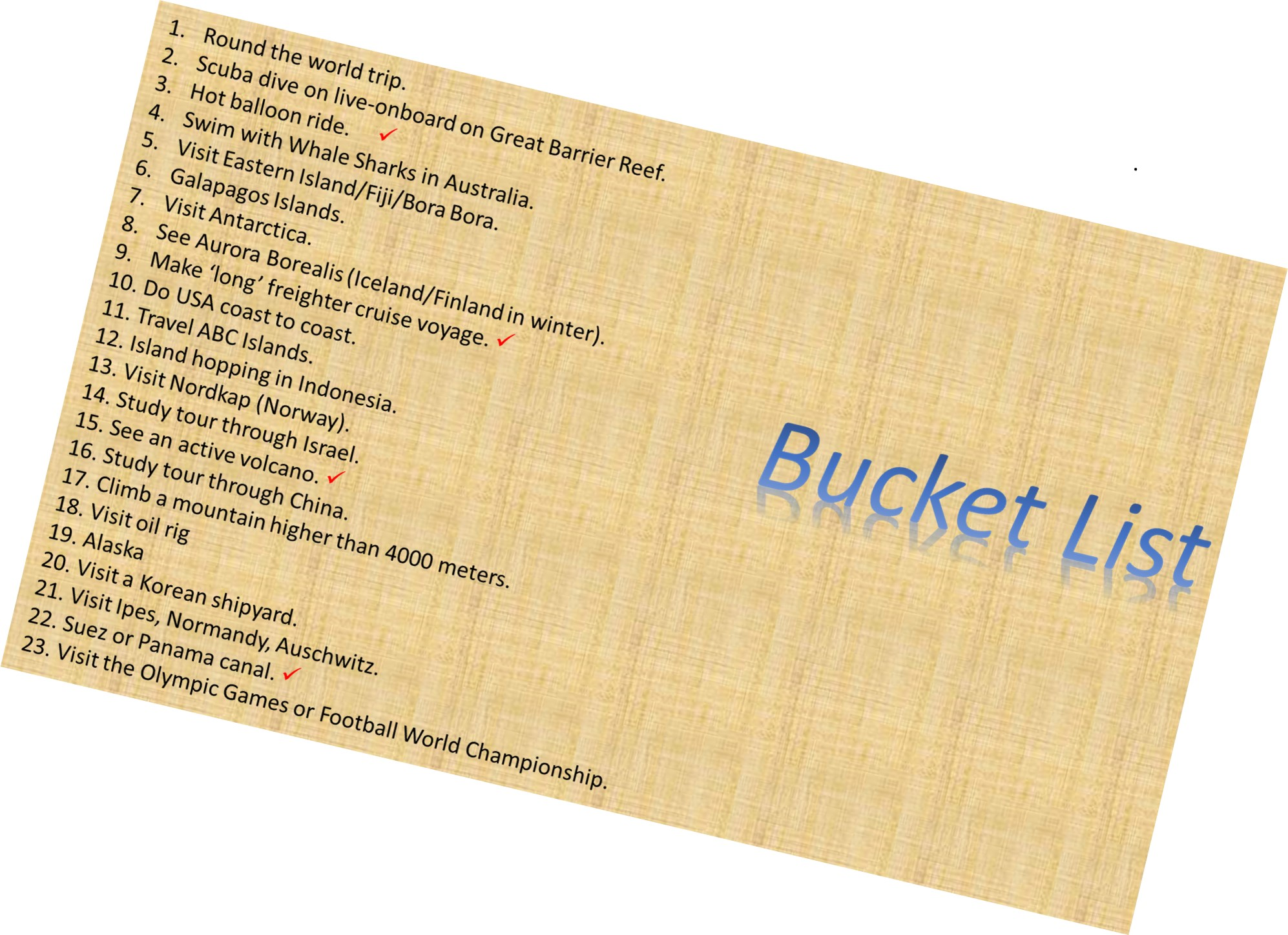The bucket list: - Our wish list of things we still want to do.