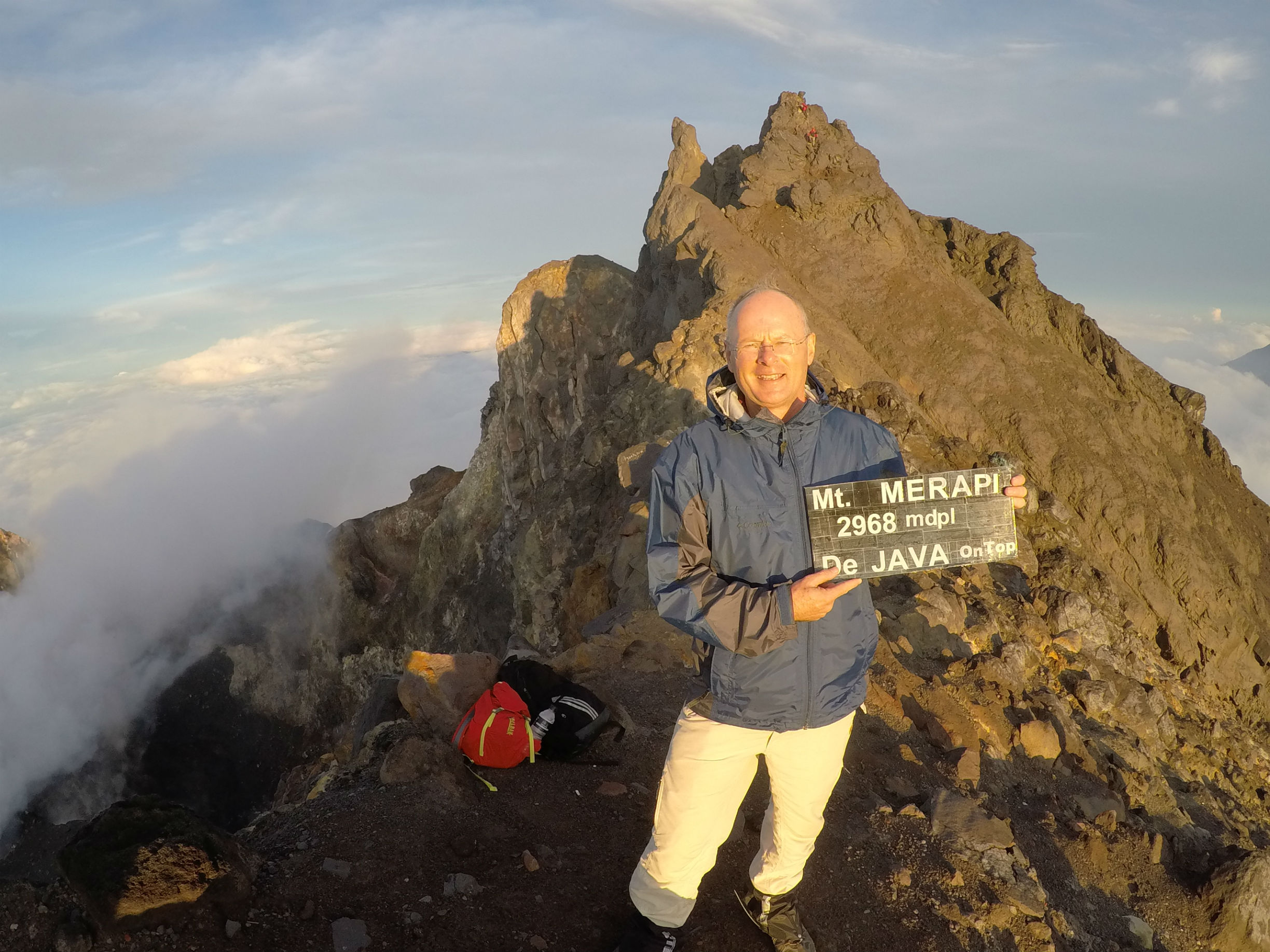 Frank reaching the summit of the Merapi volcano in central Java, Indonesia