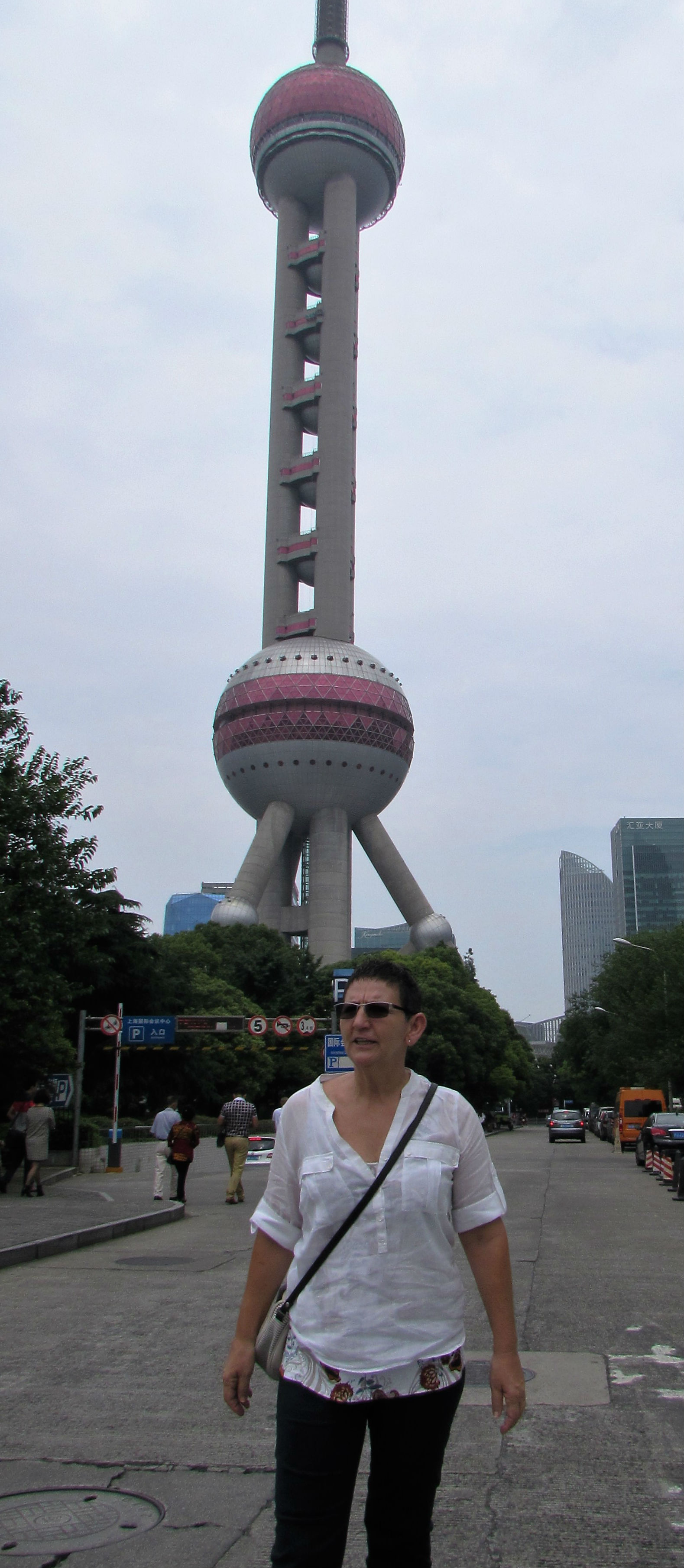 In front of the Oriental Pearl Tower in Shanghai