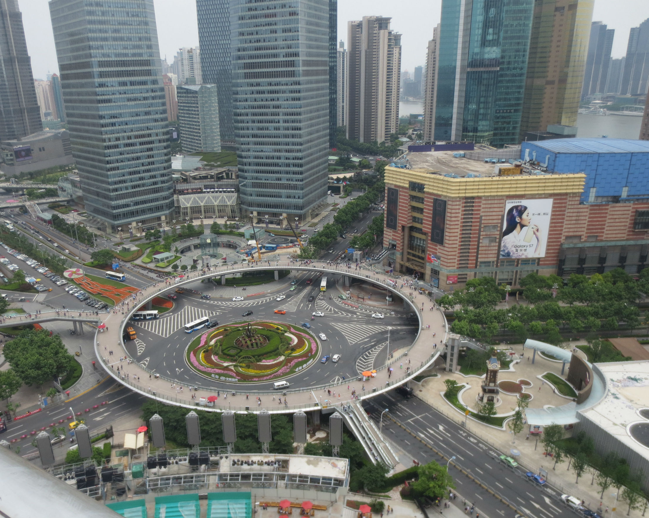 Circular sky walkways in Shanghai Pudong district