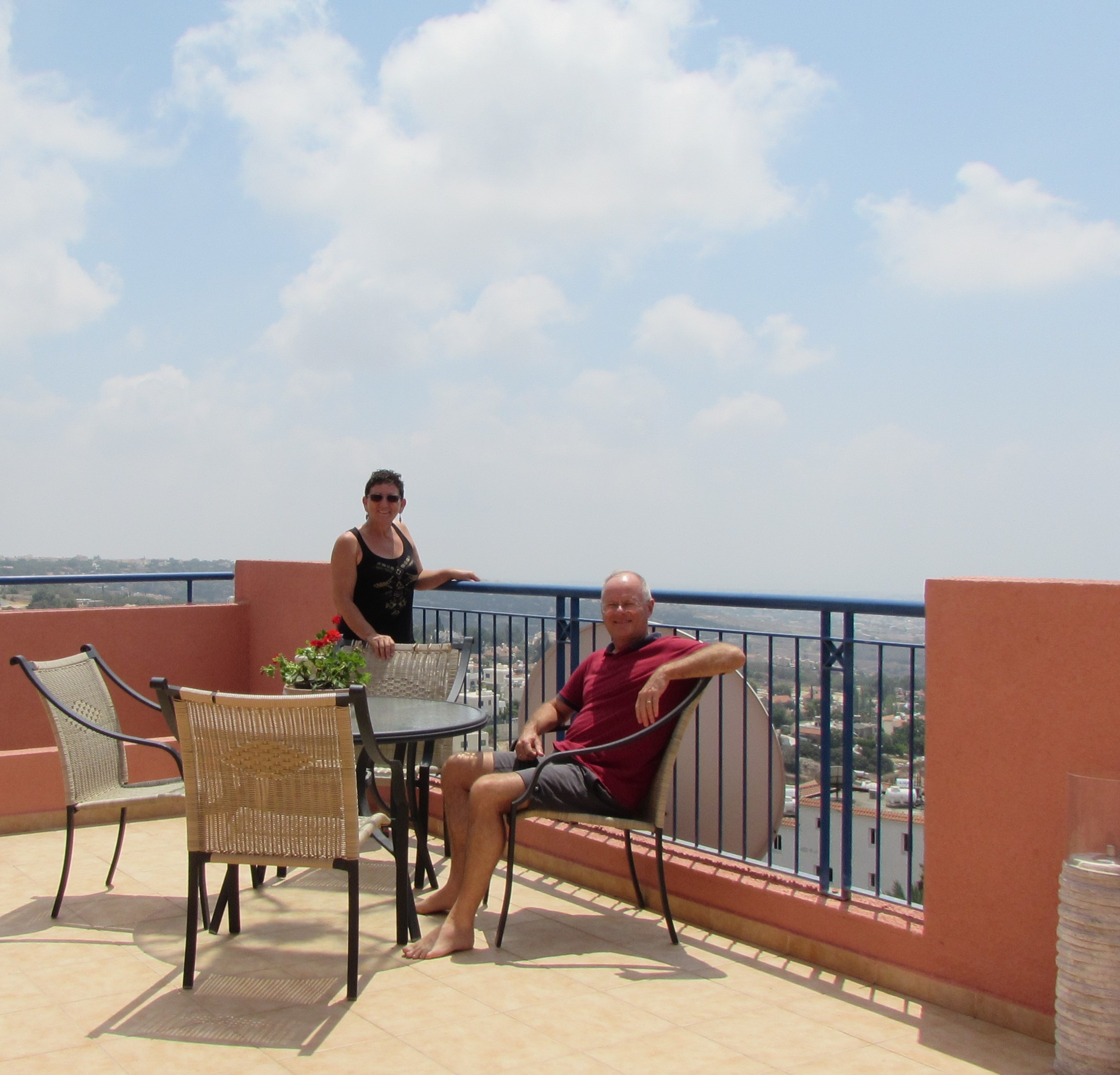 On our terrace with view across the Mediterranean Sea. The distance to coast is 2000 meters as the crow flies.