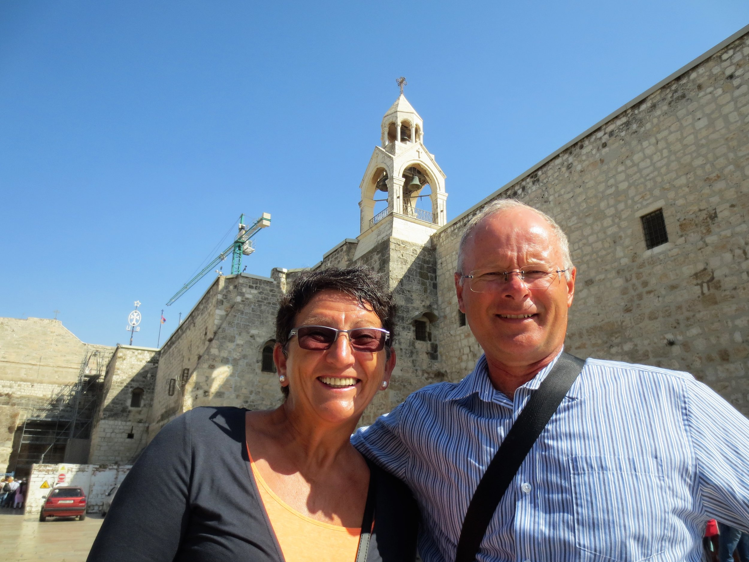 Francien and Frank in front of the Nativity Church, Bethlehem on the West Bank. This area is administrated by the Palestinian authorities.