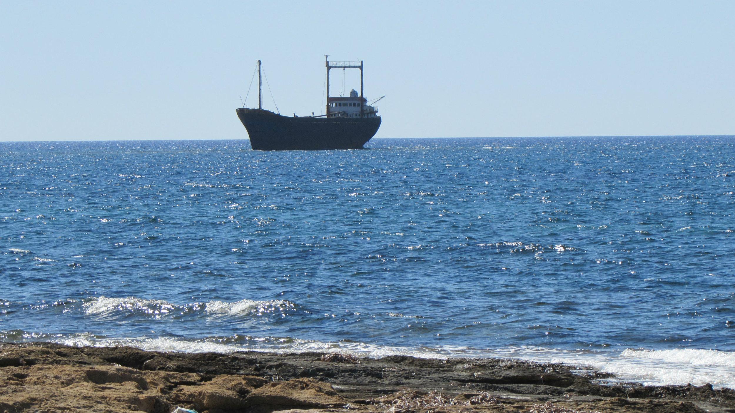 Shipwreck MV Demetrios II, landmark of the Paphos coast. Was the captain drunk when his ship hit the reef?