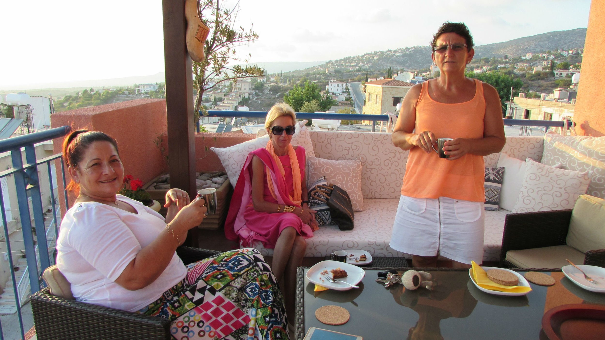 With friends on the terrace. Akamas National Park is on the horizon with its rugged coast line