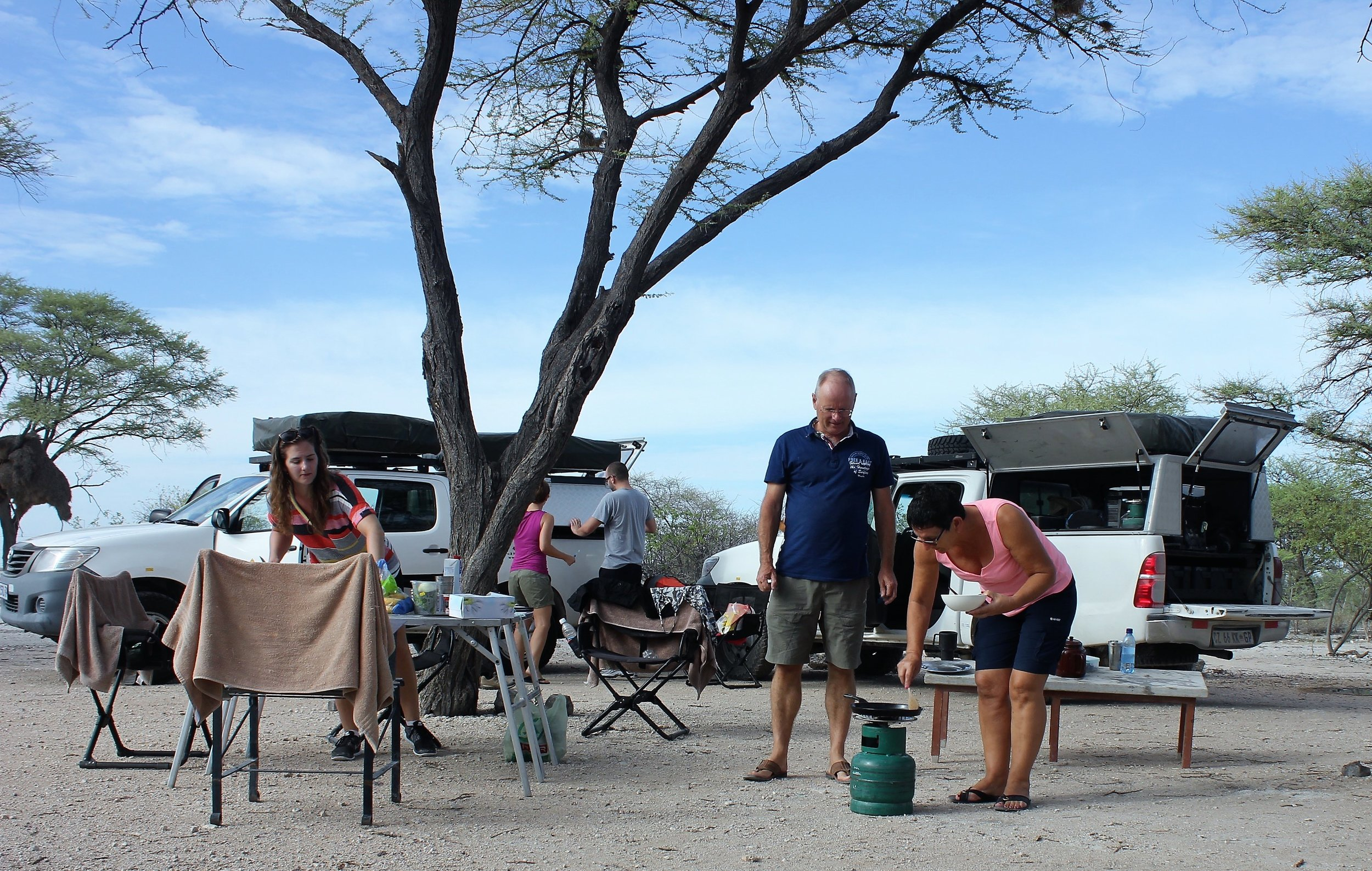 Francien preparing breakfast at Halali camp in Etosha National Park