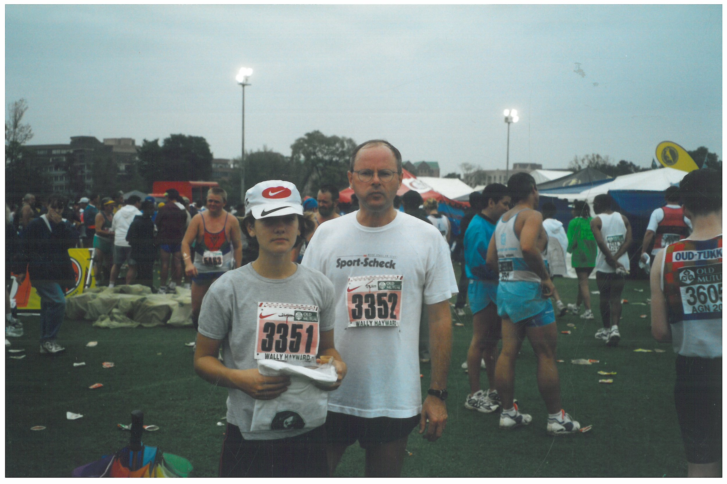 2001 Winnie and Frank finished Wally Hayward half marathon in Pretoria, South Africa