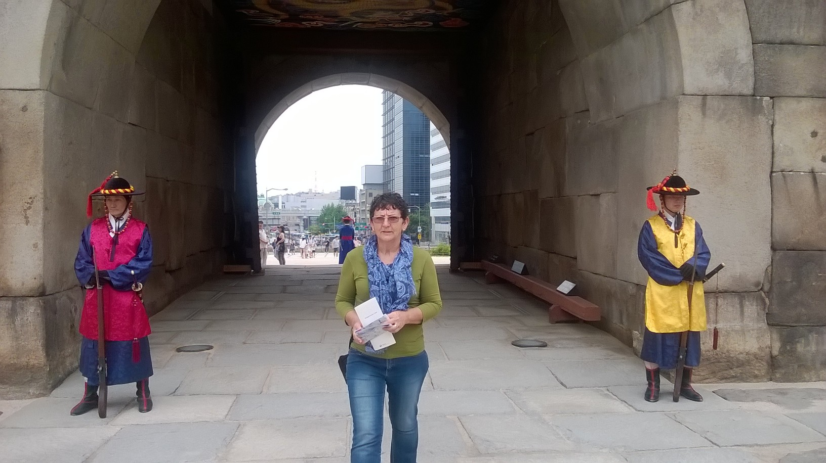 In front of one of the city gates