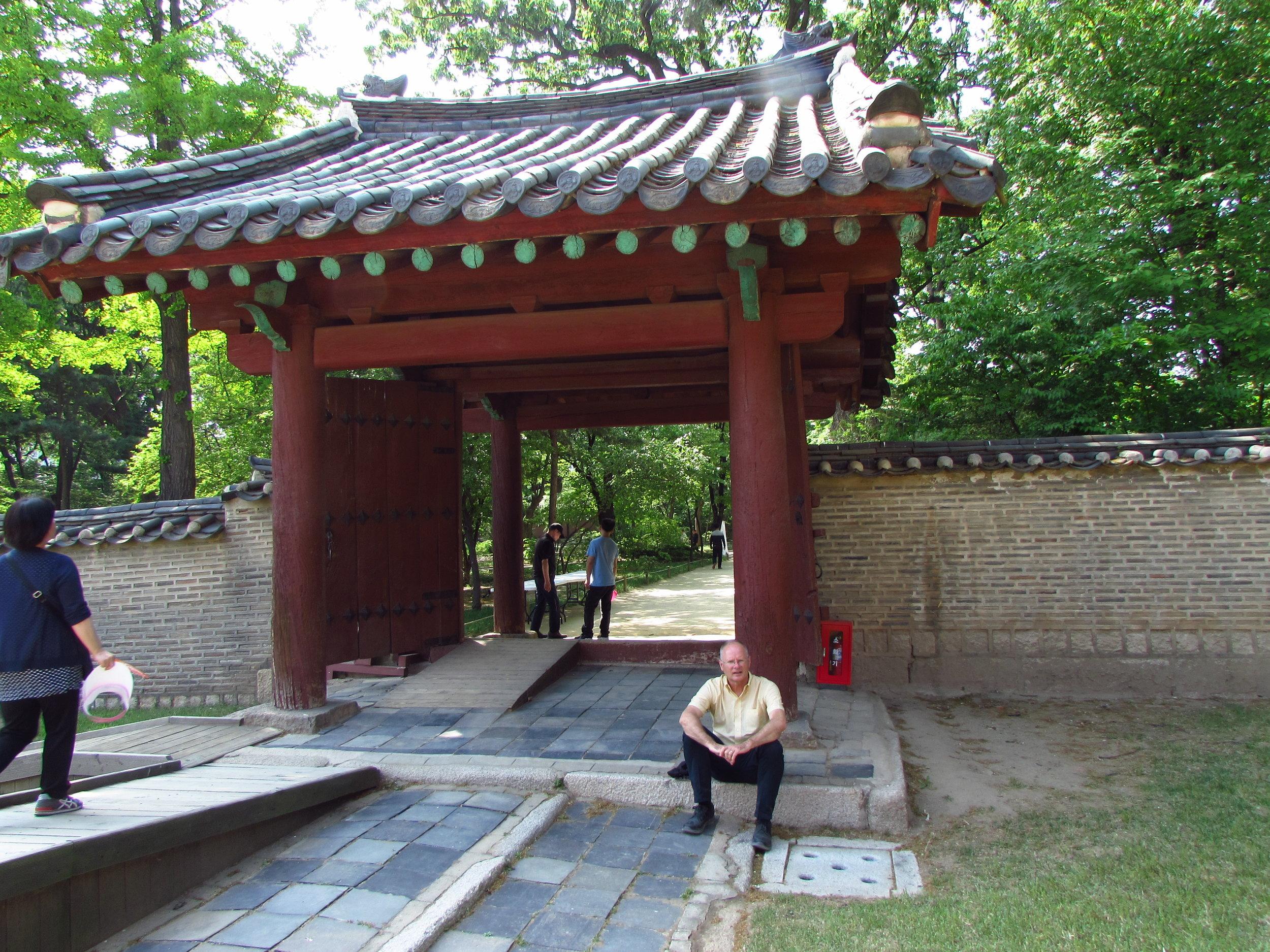 Enjoying a quiet moment at the Dongmyo Shrine