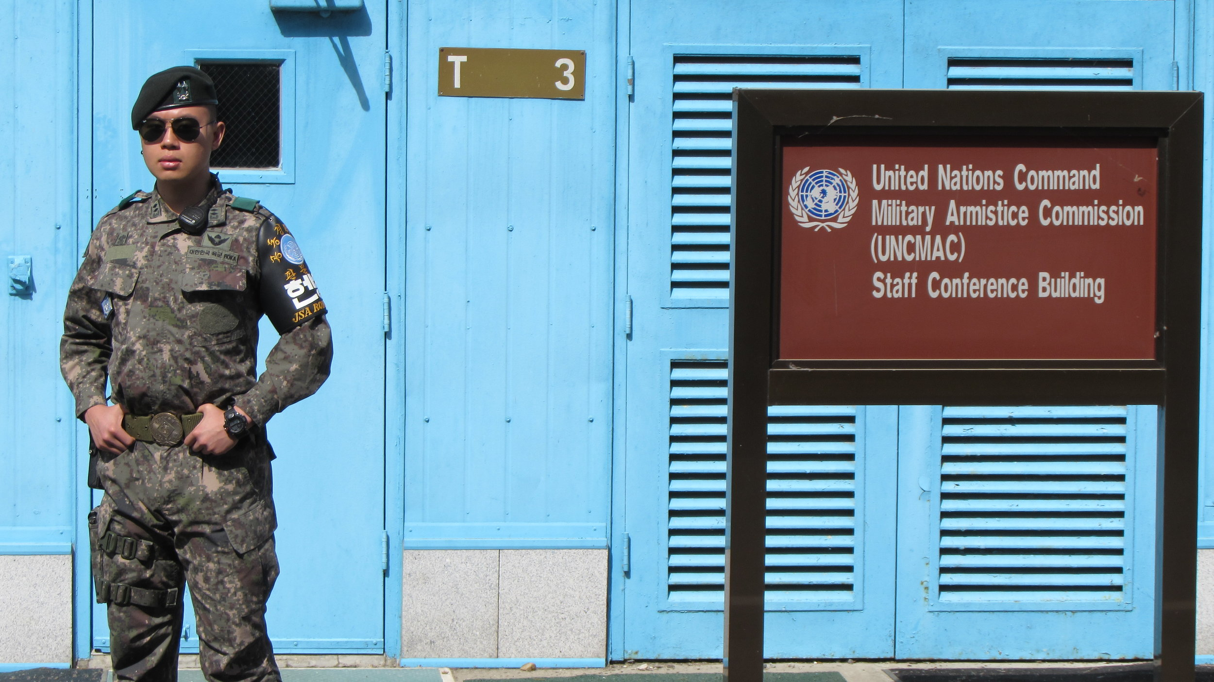 United Nations (South Korean) soldier standing guard