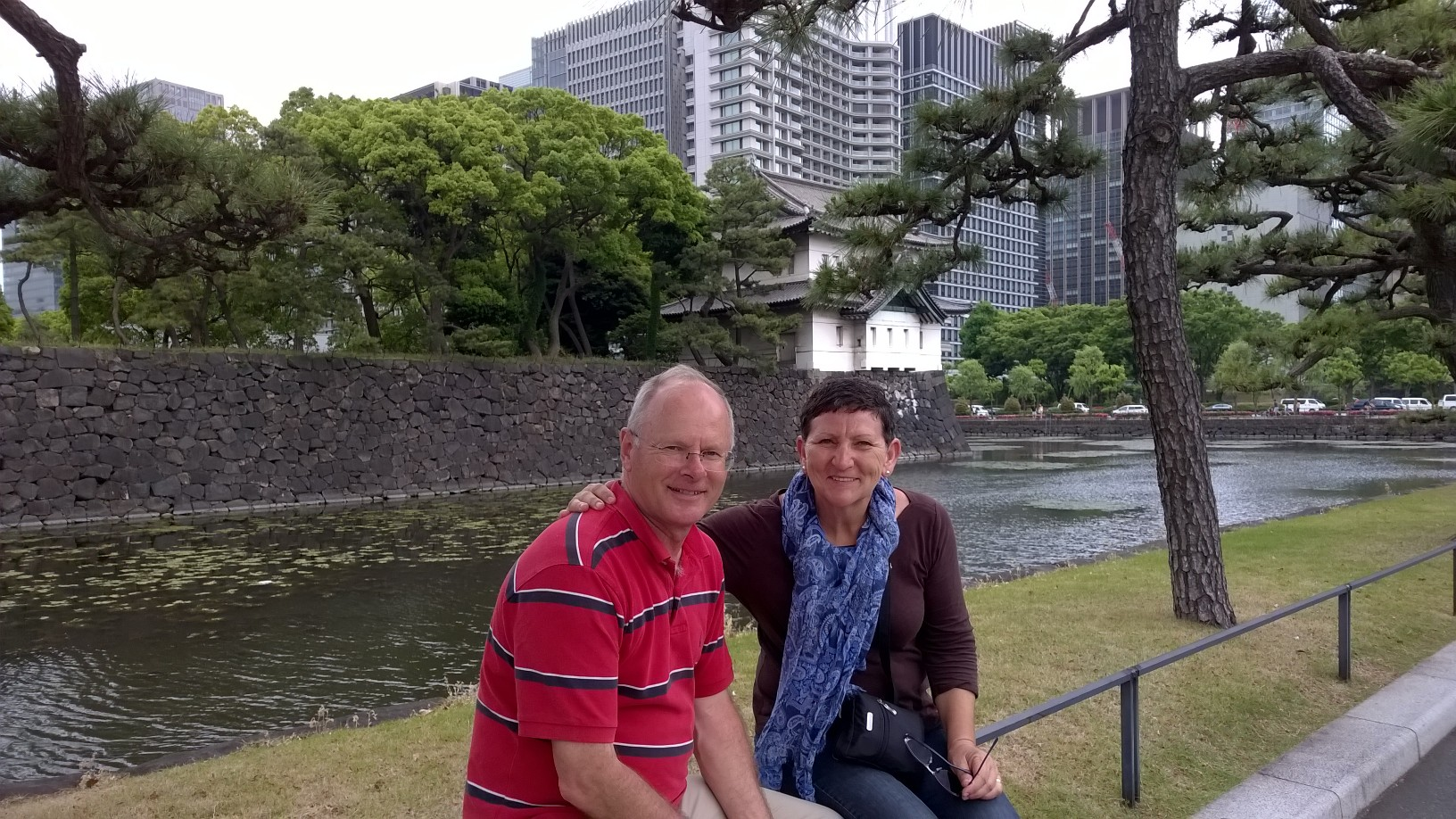 The Imperial Palace with the Tokyo business district in the background