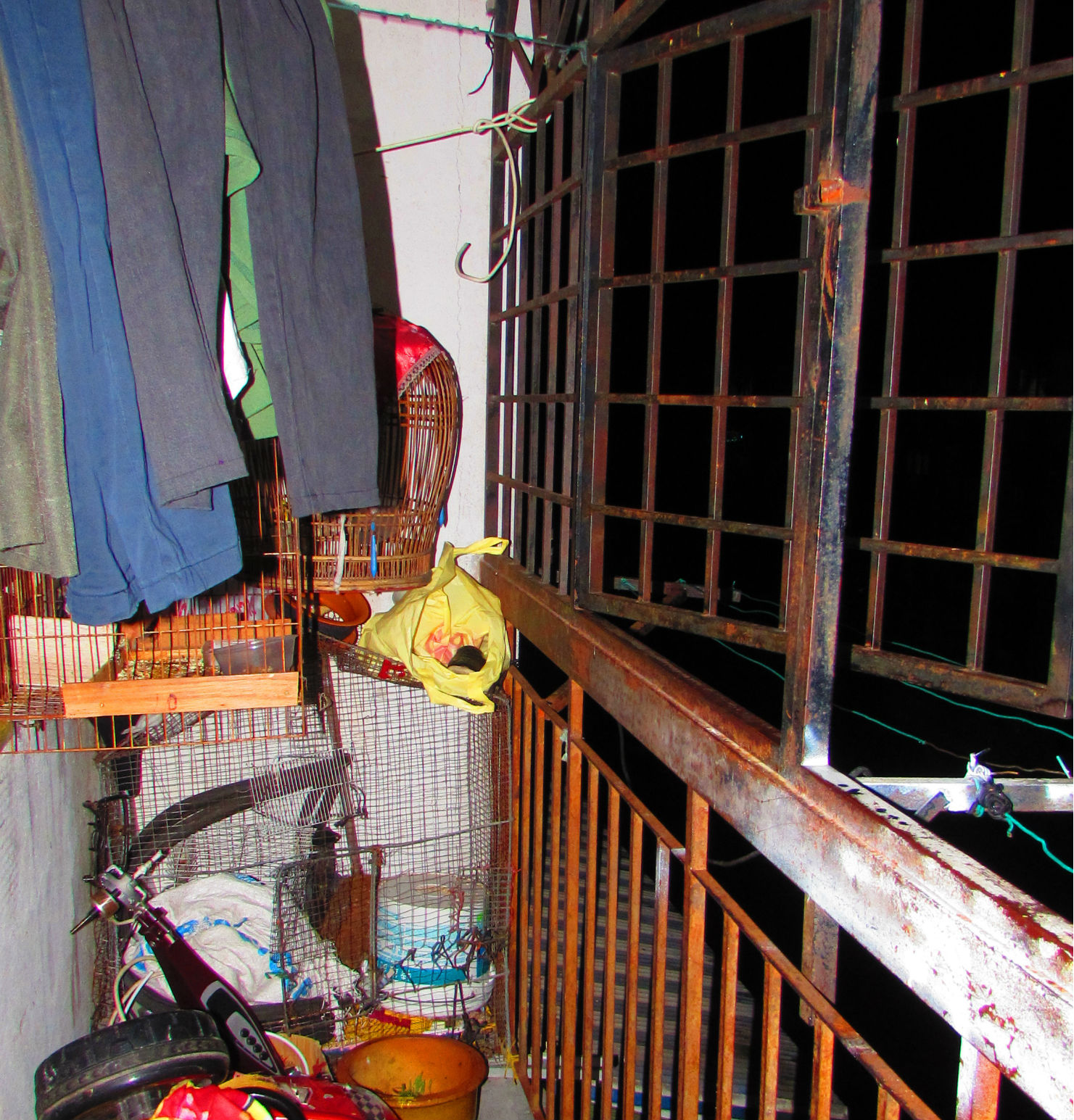 The balcony with empty birdcages...