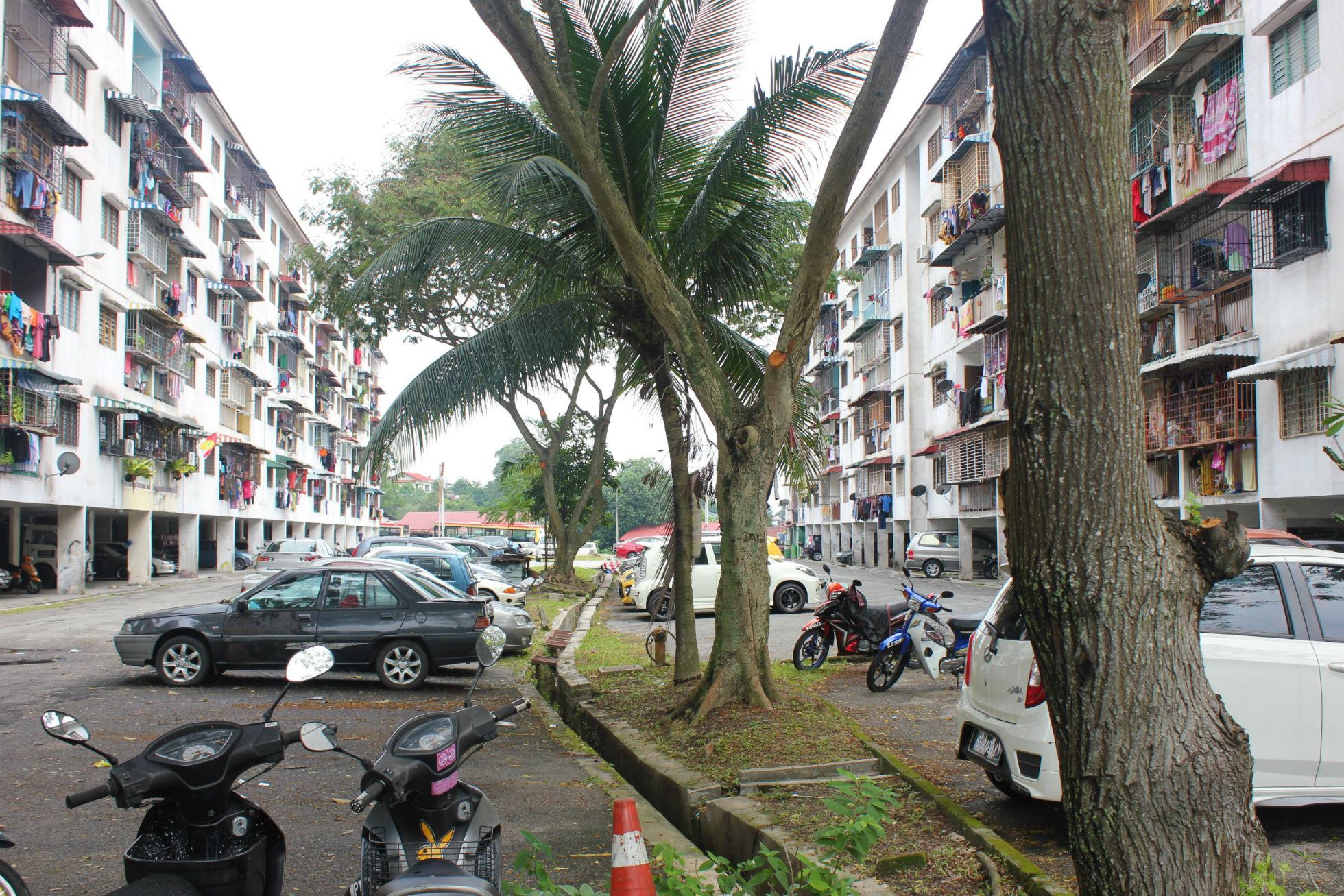 Run down apartment blocks in Ampang, a northerly suburb of Kuala Lumpur
