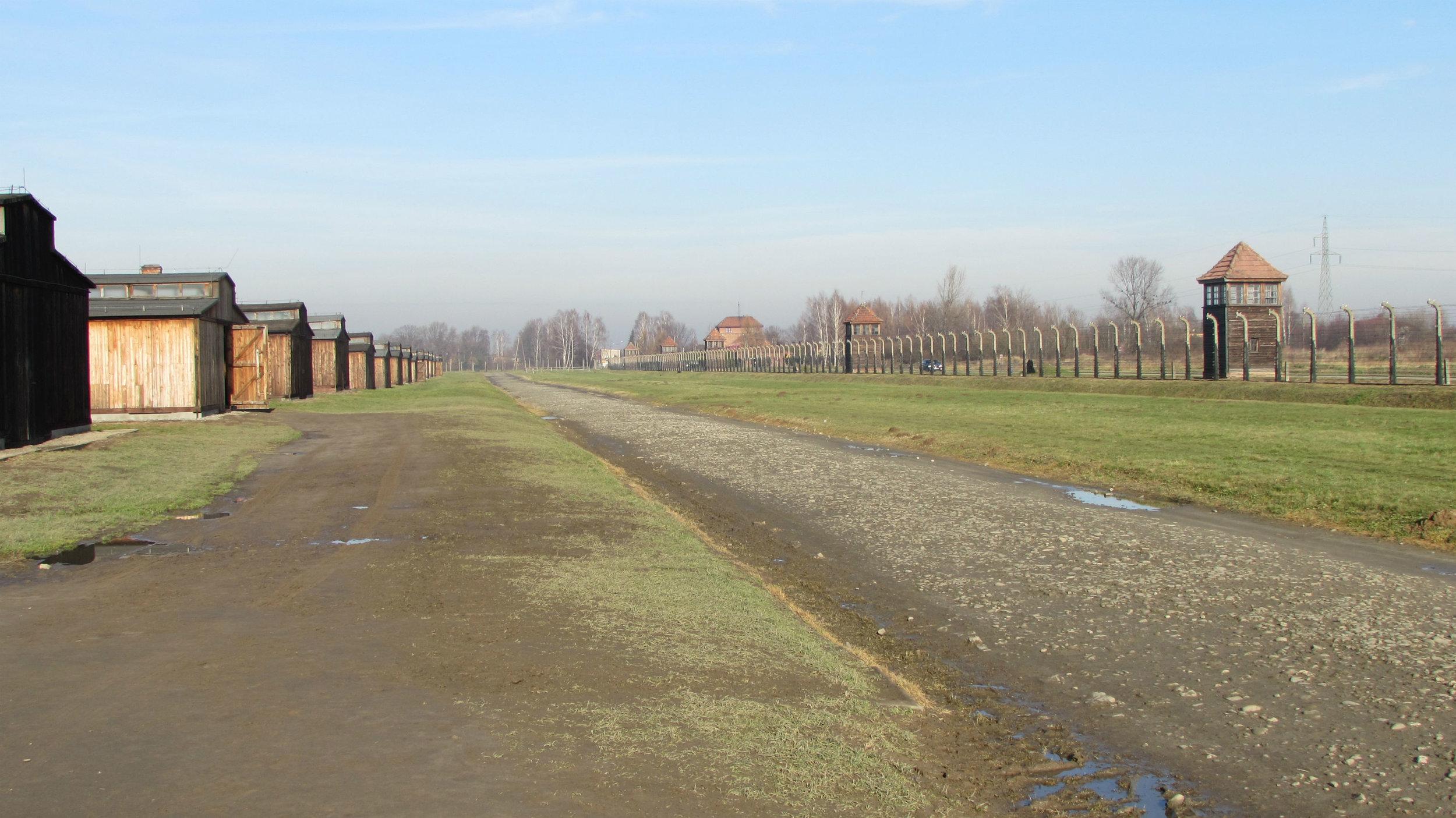 Wooden barracks in Birkenau