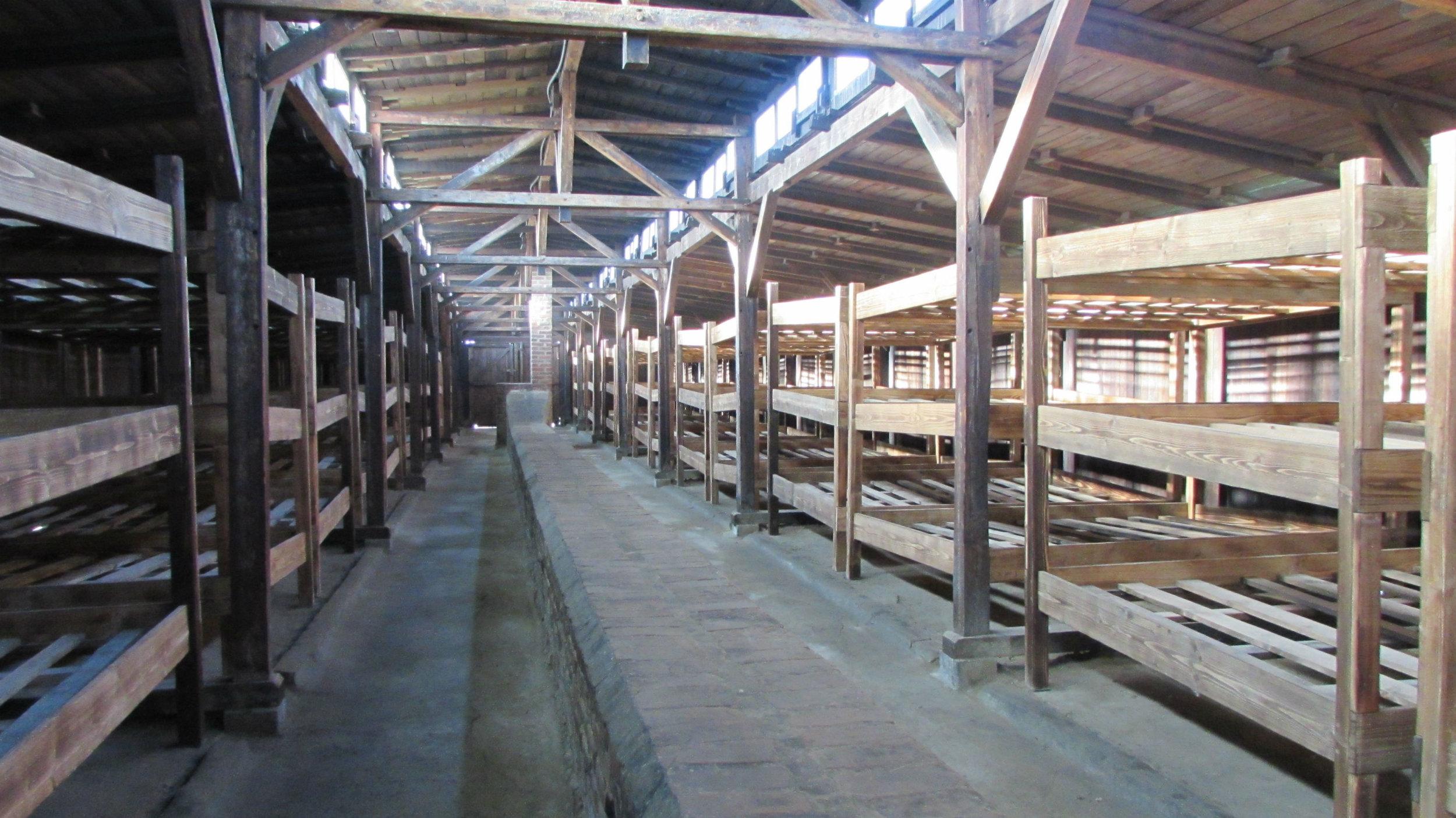 Inside a wooden barrack