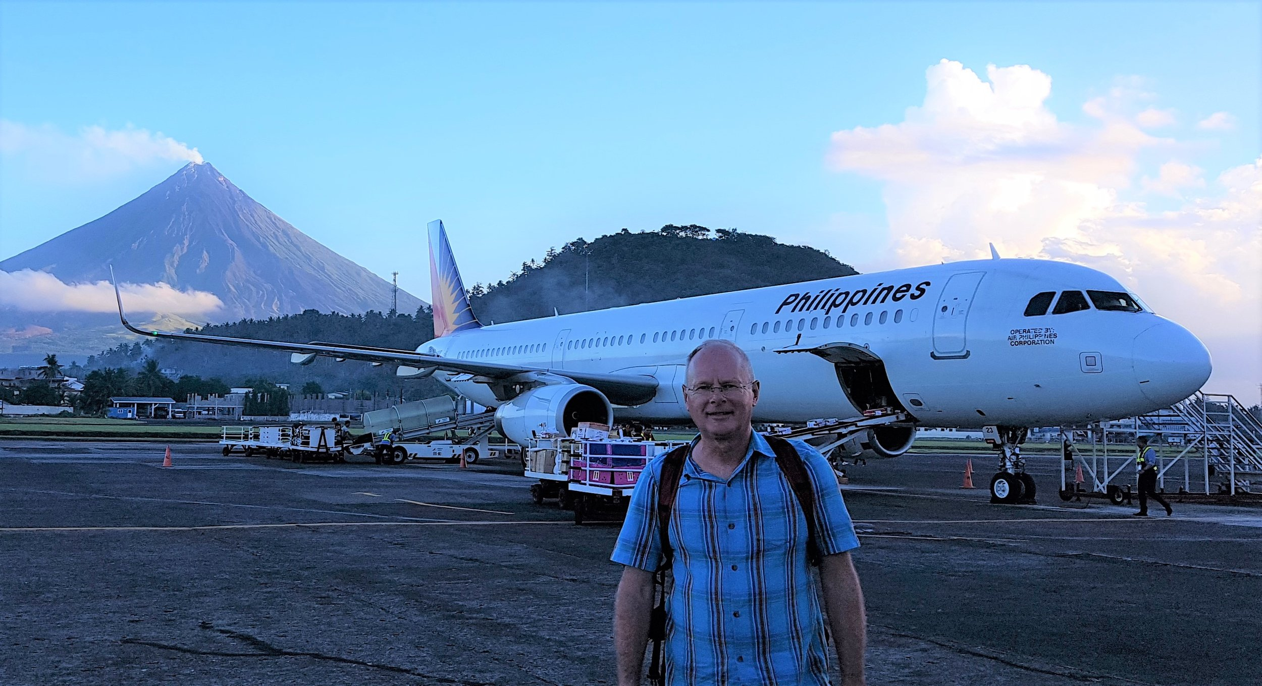Legazpy airport with the Mayon volcano in the background