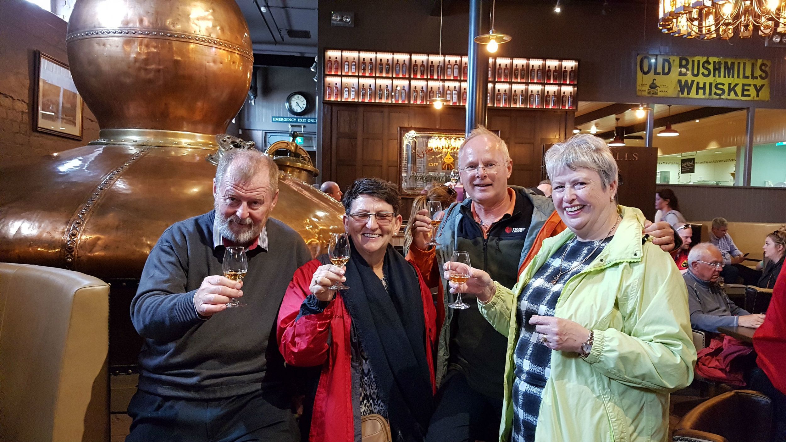 With our friends Fidelma and Marc in Bushmill distillery