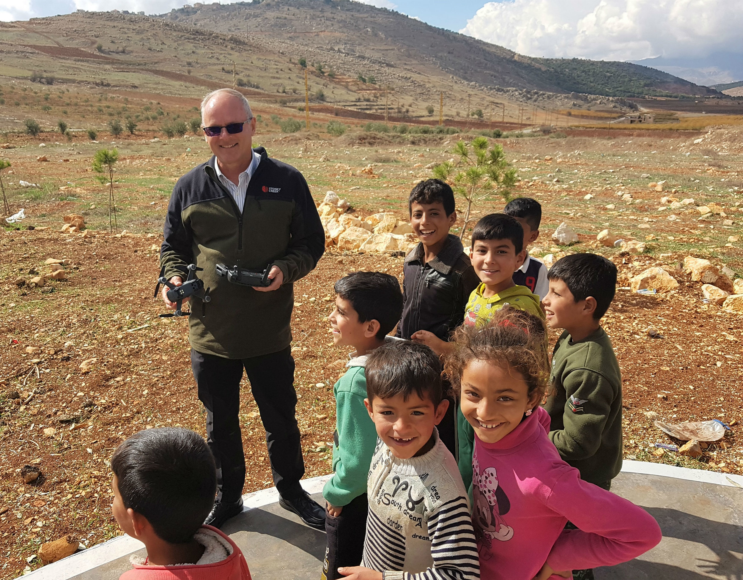 Giving the Syrian refugee kids a drone demonstration close to Rachaya