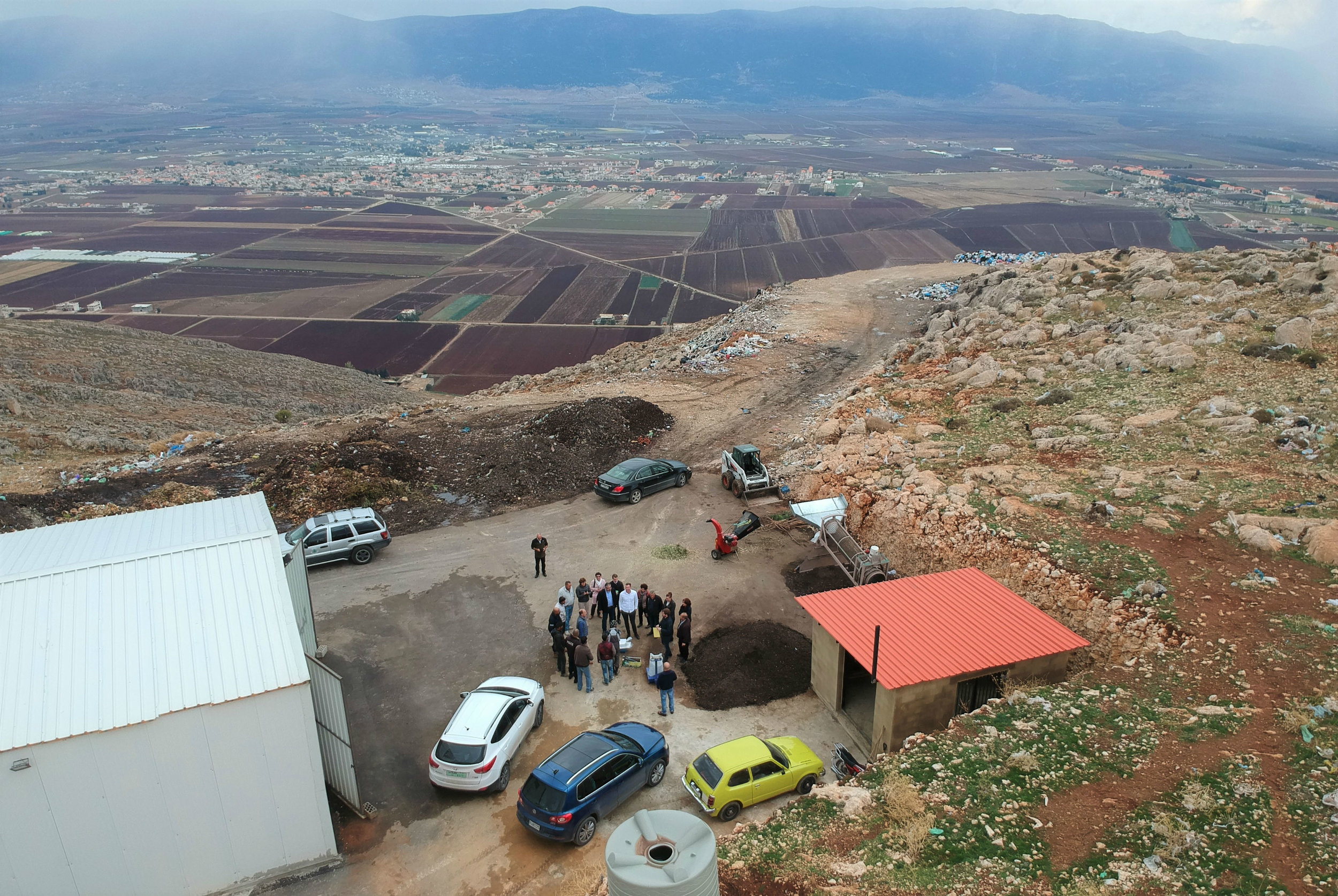 A garbage recycling facility overlooking the Beqaa Valley