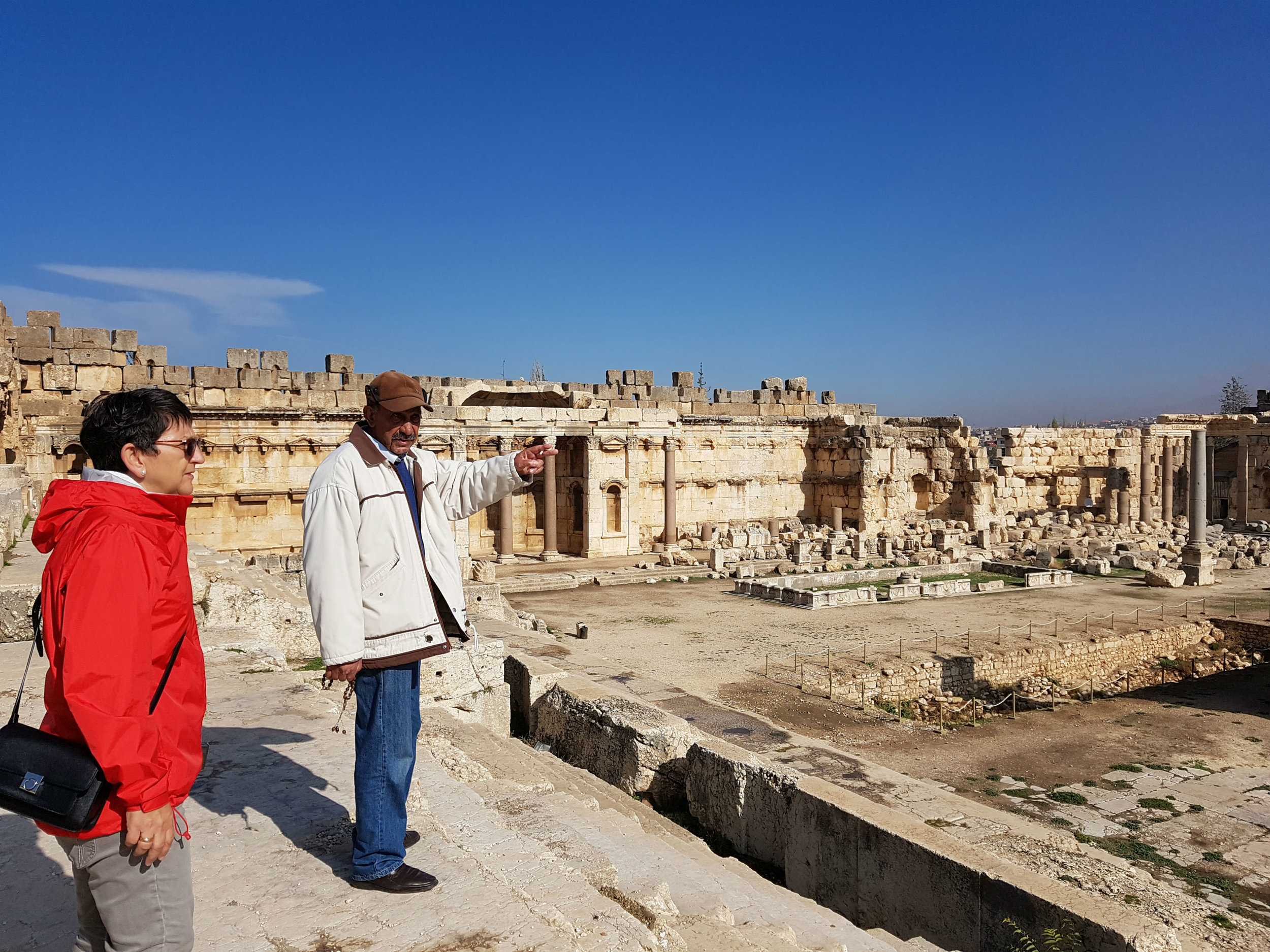 Our guide Kamil telling the history of the Baalbek Temples