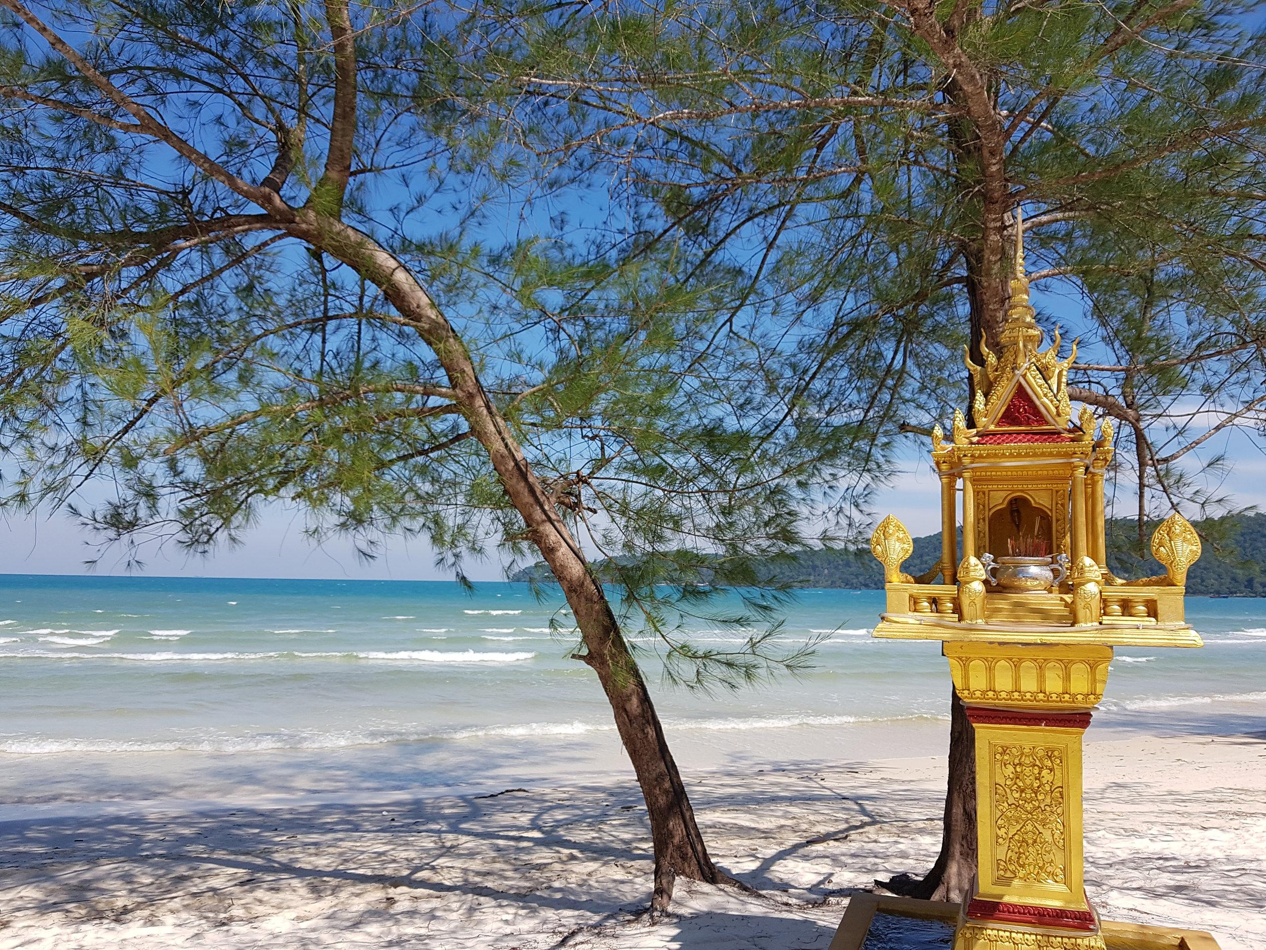 Buddhist altar on the beach