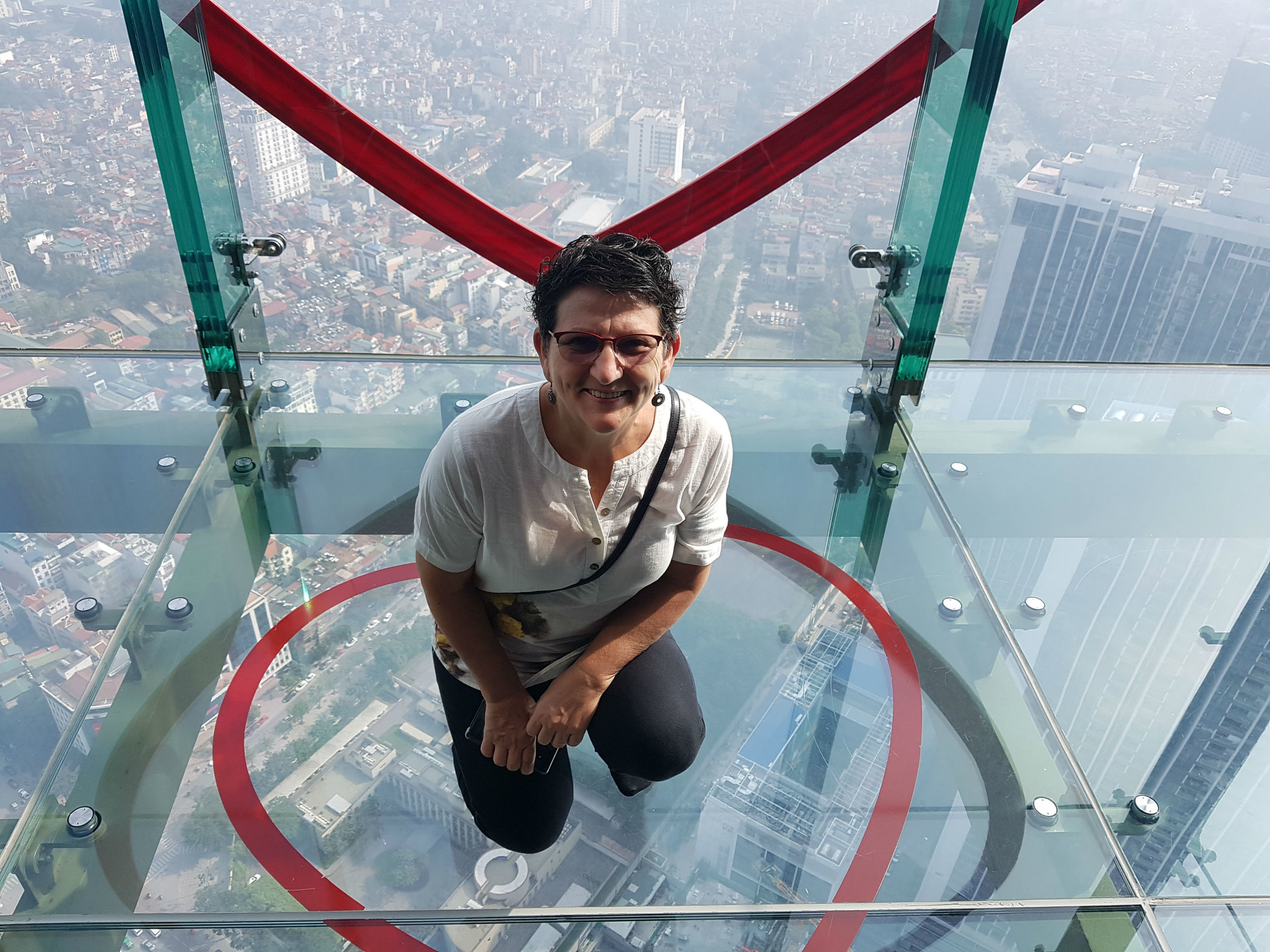 Glass floor 250 meters above the streets in Lotte Centre observation deck
