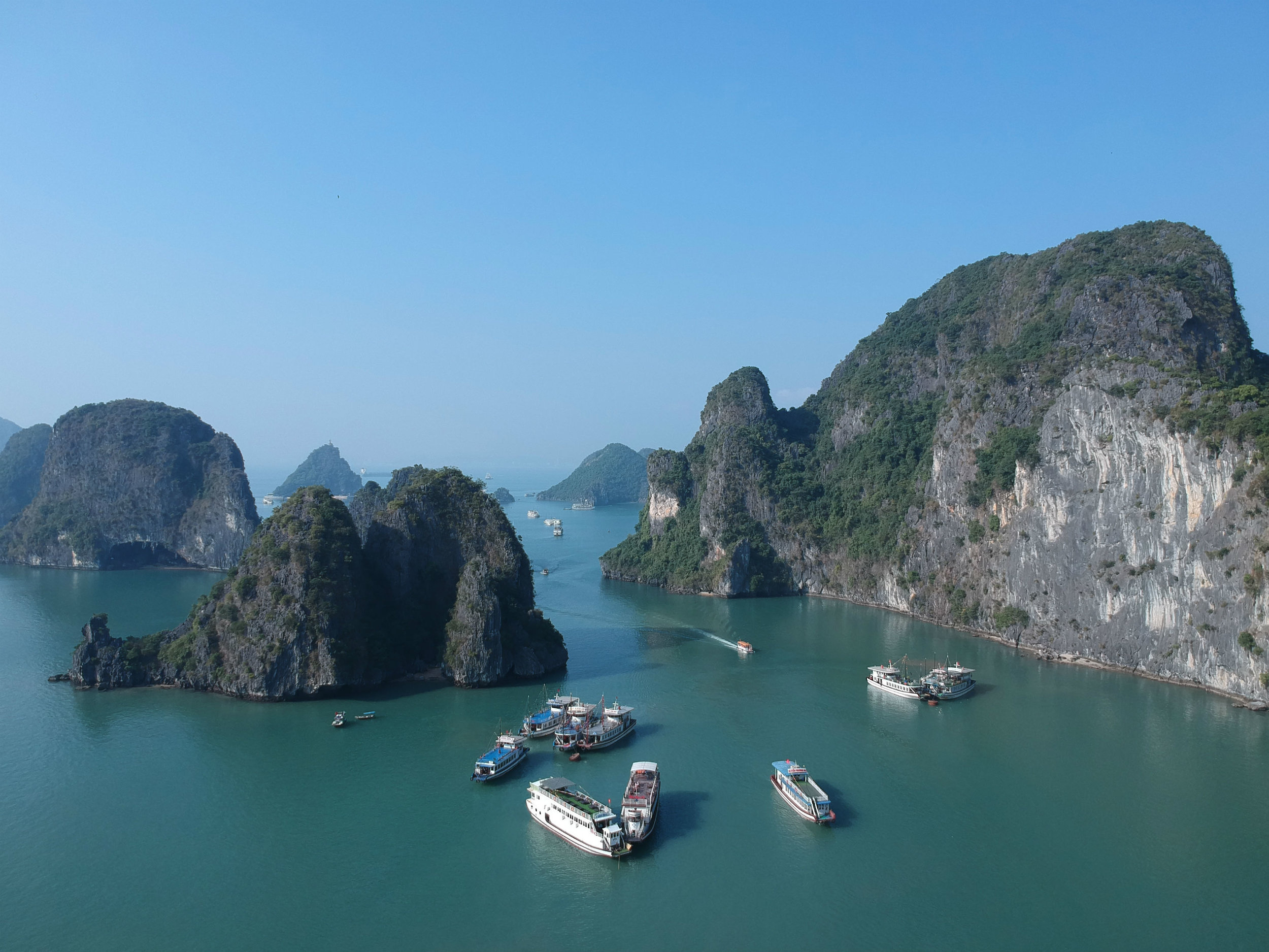 Karst formations of Ha Long Bay (drone picture)