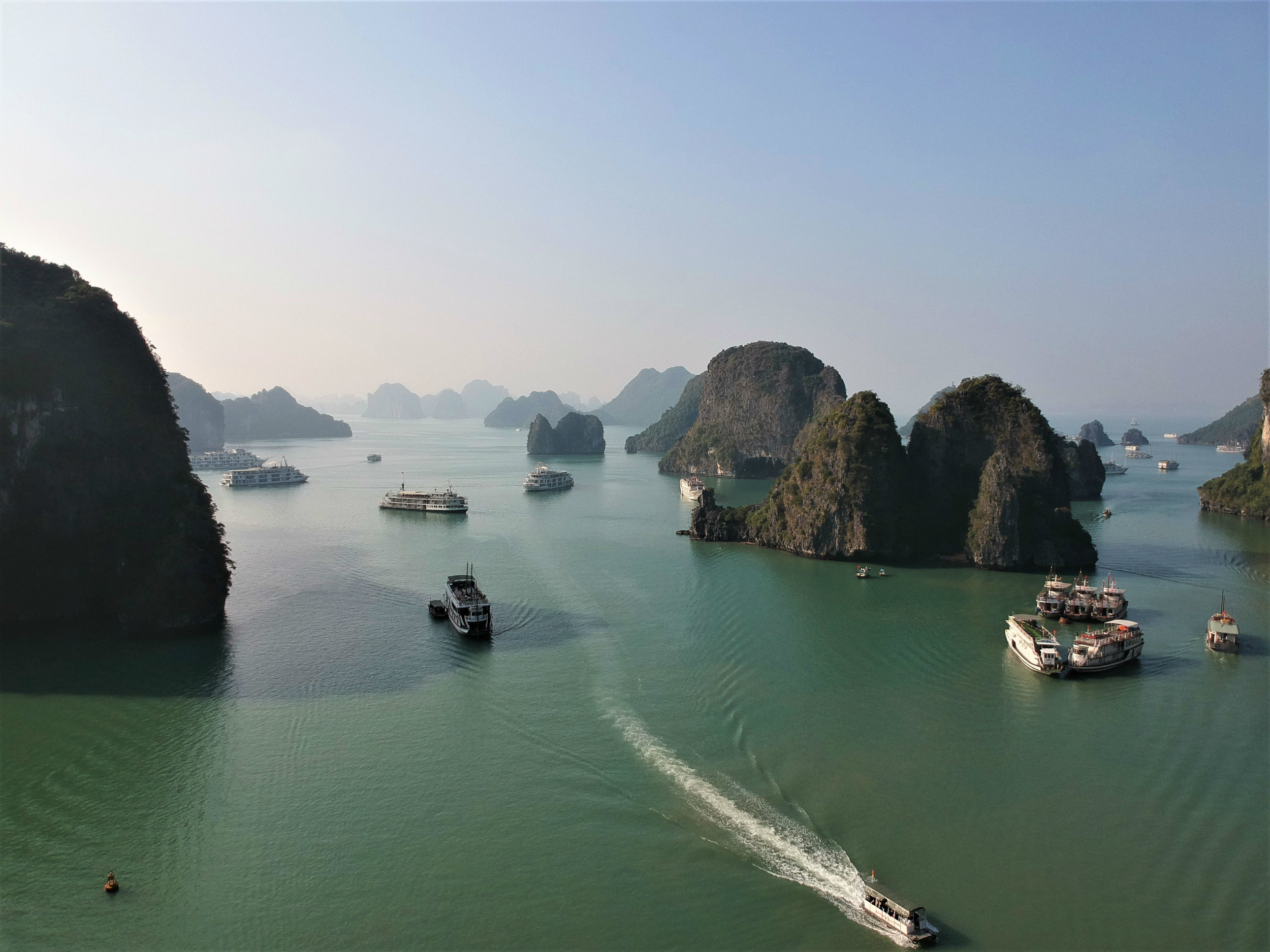 Sun set at Ha Long Bay (drone picture)