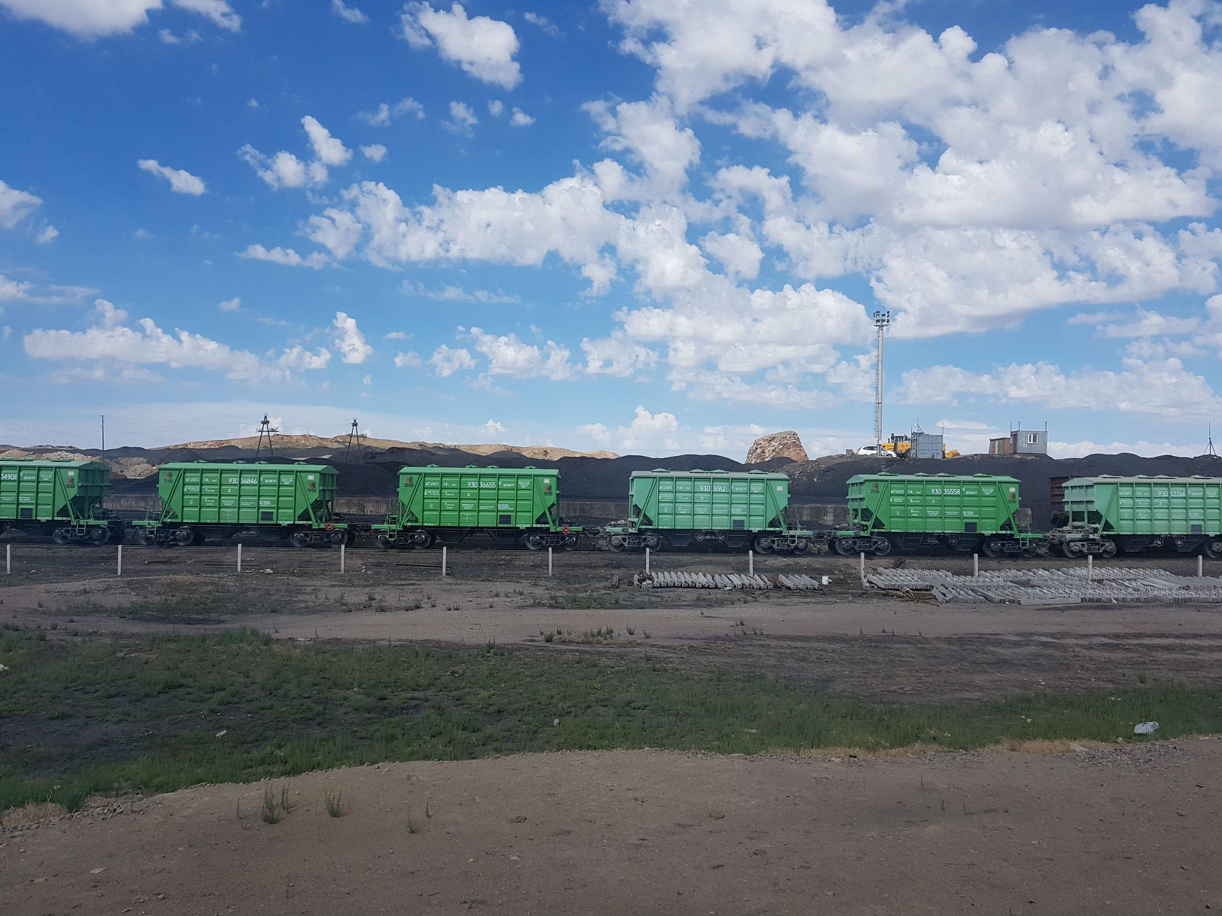 Coal trains in the Gobi Desert
