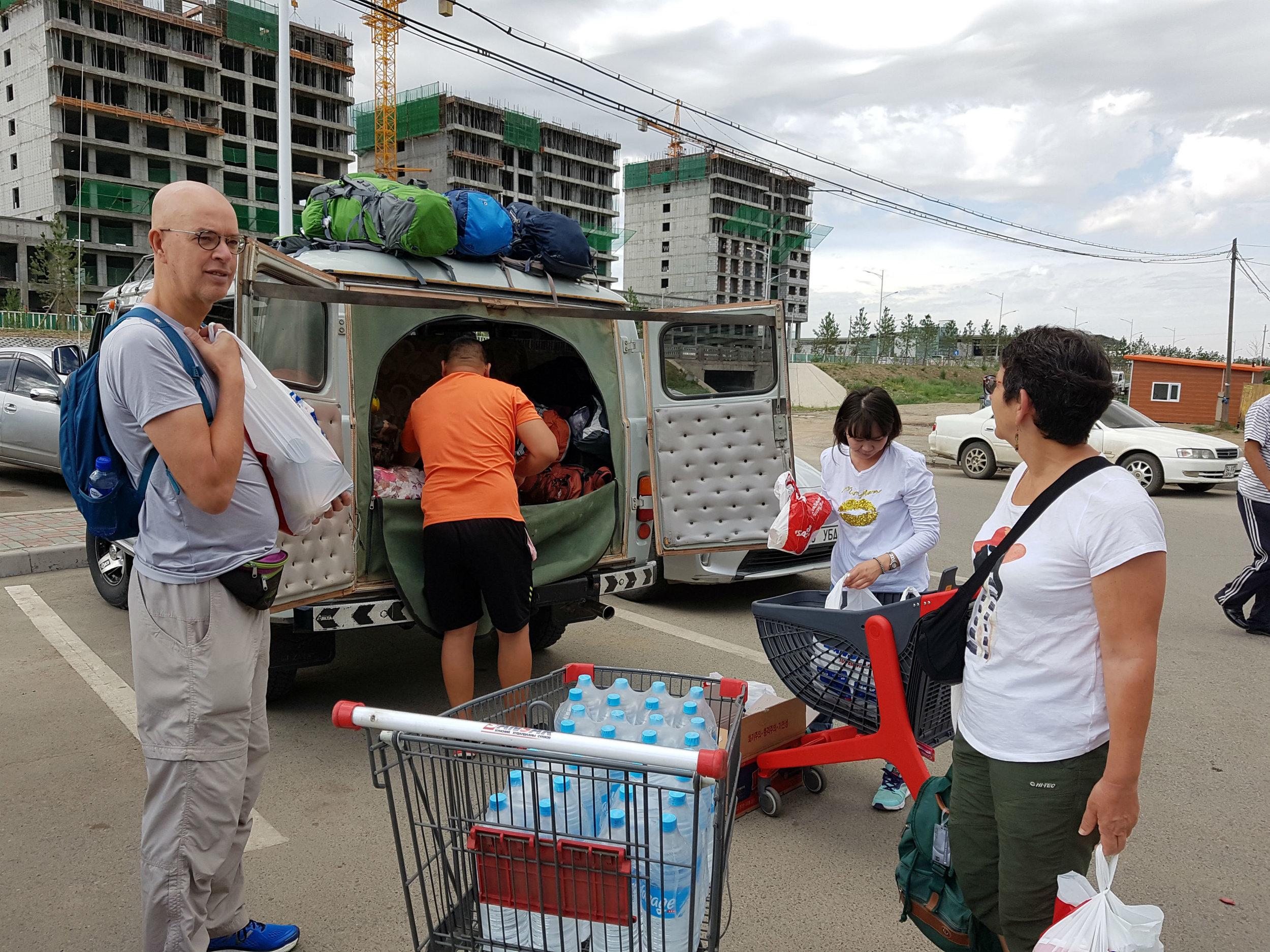 In Ulaanbaatar we loaded food in our van before starting our journey